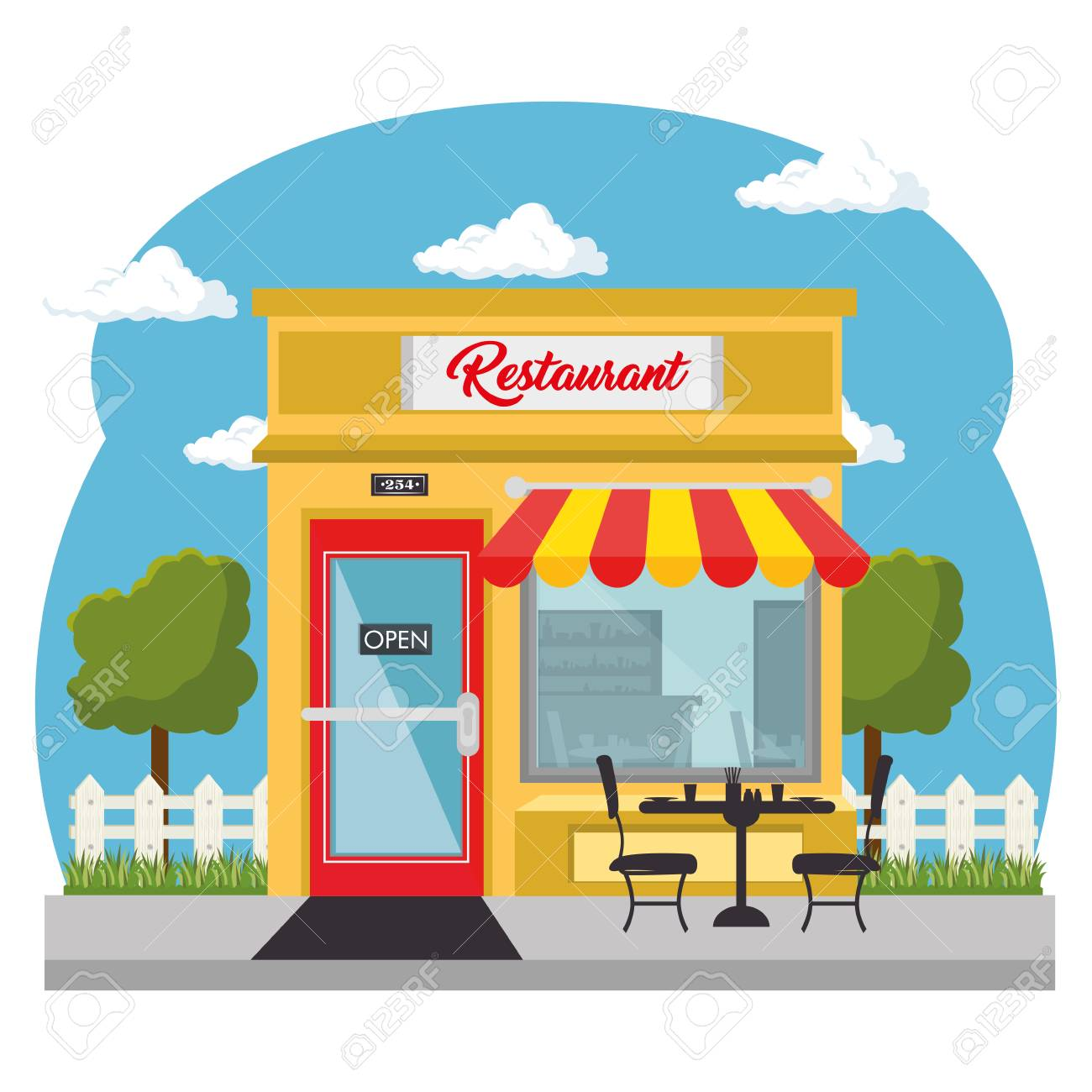 Seen From Outside Restaurant With Red And Yellow Awning And Royalty Free Cliparts Vectors And Stock Illustration Image 78102490