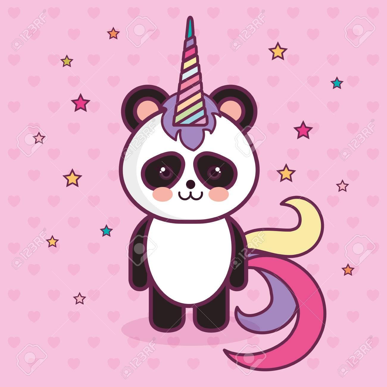 Ours Panda Kawaii Avec Corne Colorée Sur Fond étoilé Rose Illustration Vectorielle