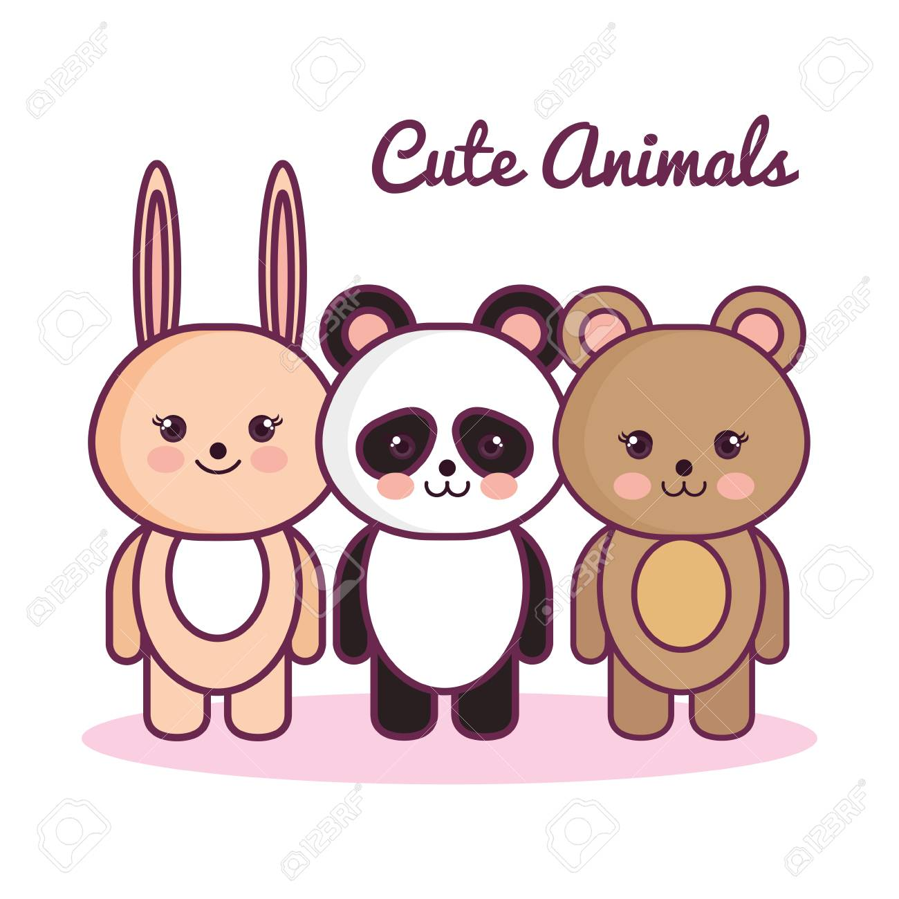Image of: Drawings Kawaii Animals With Cute Animals Sign Over White Background Vector Illustration Stock Vector 123rfcom Kawaii Animals With Cute Animals Sign Over White Background