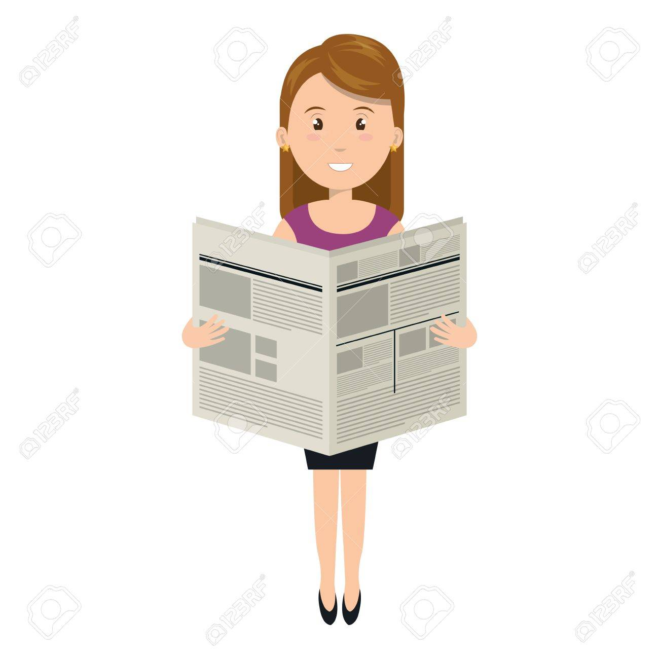 young woman reading newspaper avatar character vector illustration