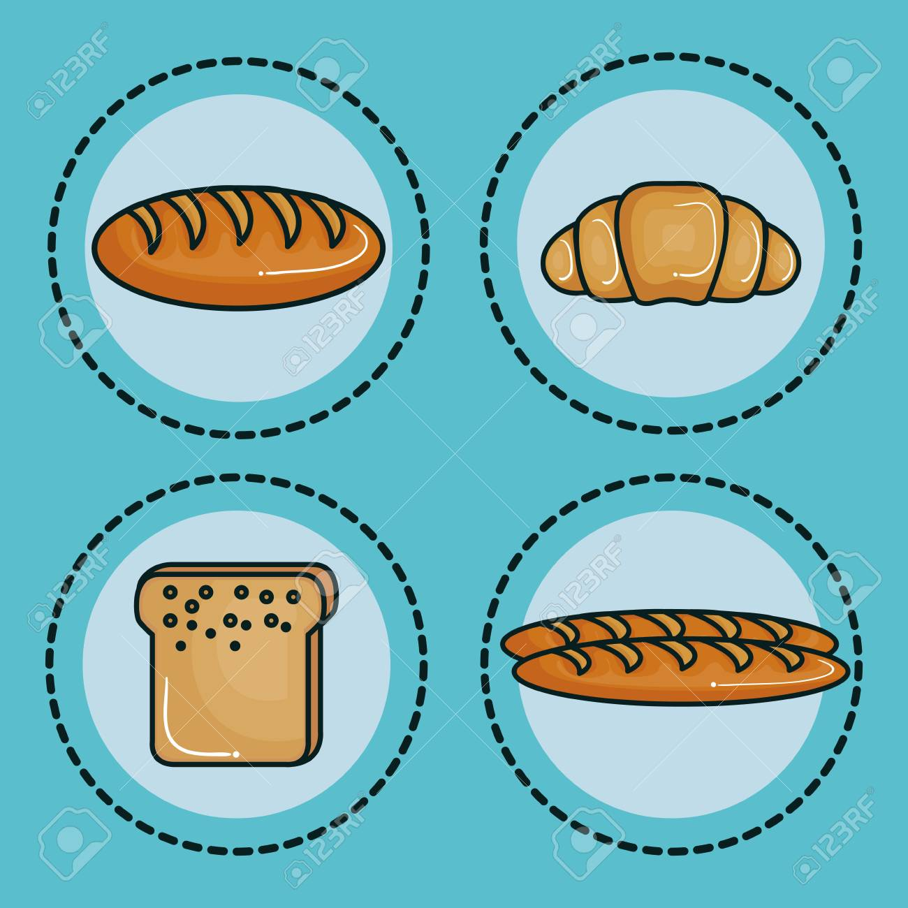 Different types of bread stickers over teal background vector illustration stock vector 78269134