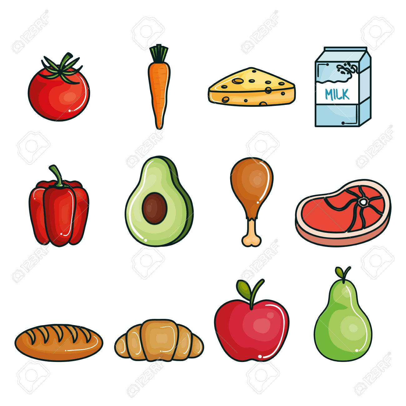 Healthy Food Set Over White Background Vector Illustration Royalty Free Cliparts Vectors And Stock Illustration Image 78269141