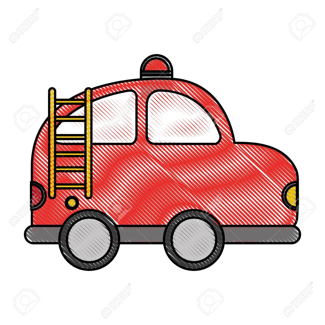 Voiture De Pompier Dessin Icone Vector Illustration Design Clip