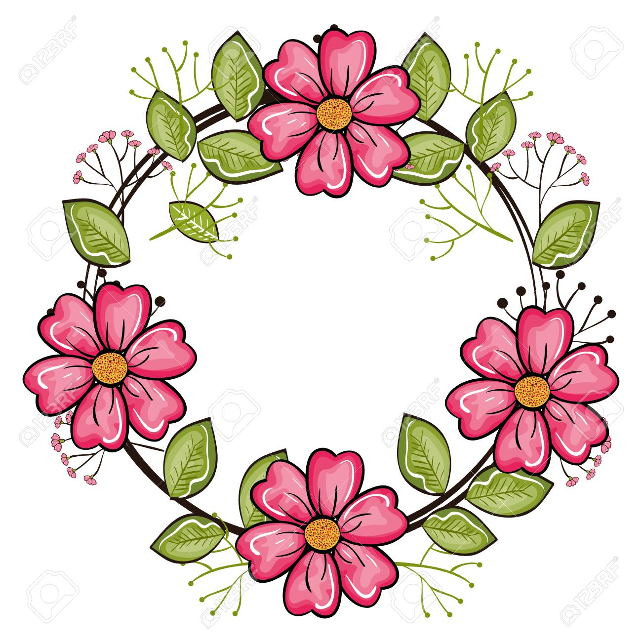 Round Frame With Pink Flowers And Leaves Over White Background