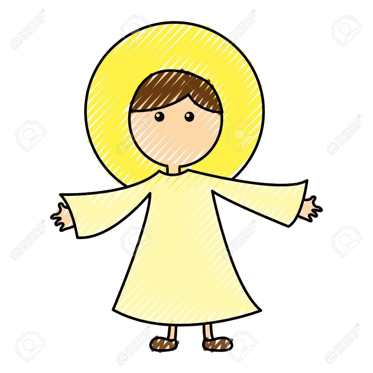 Little Jesus Baby Manger Character Vector Illustration Design Stock
