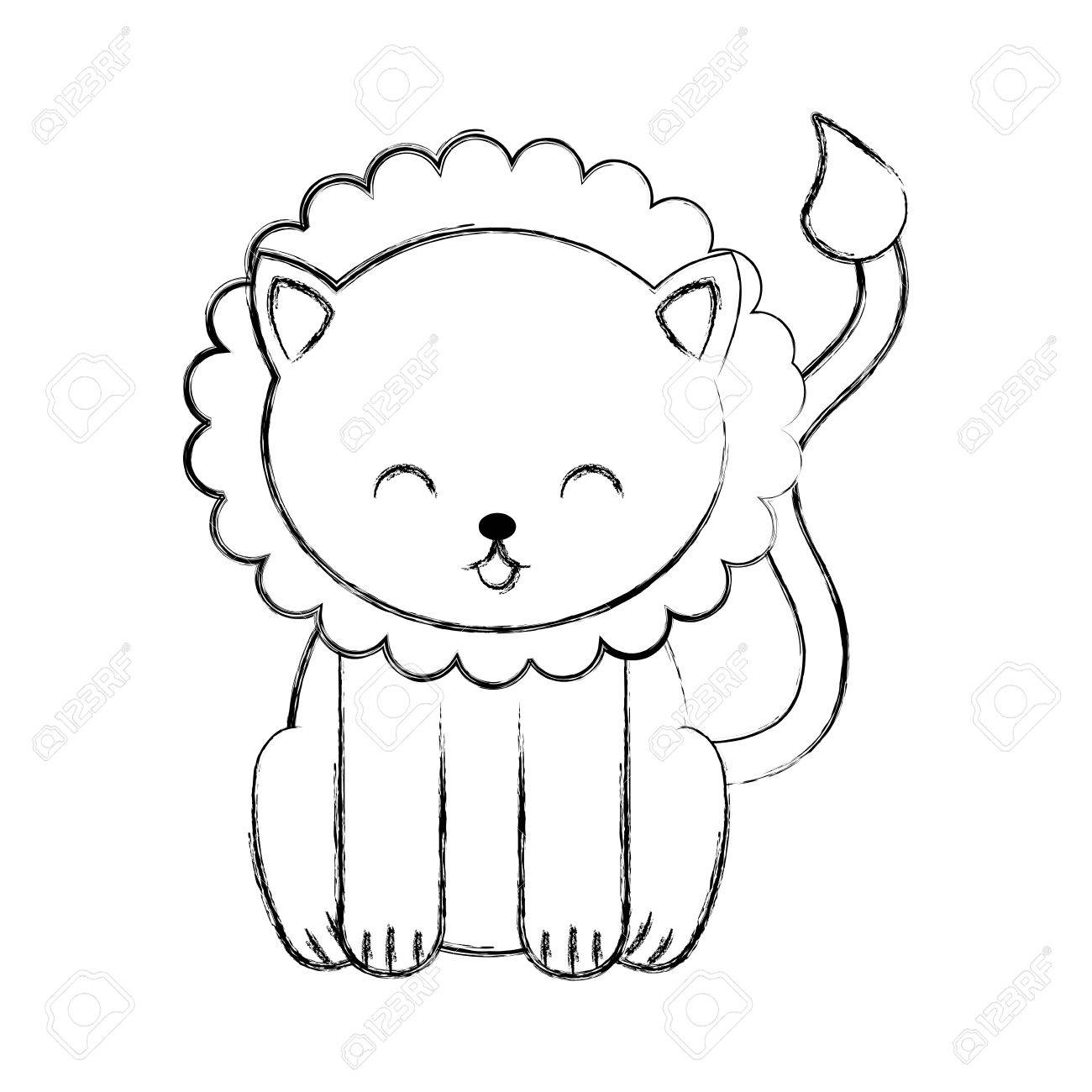 Cute Sketch Draw Lion Cartoon Graphic Design Royalty Free Cliparts