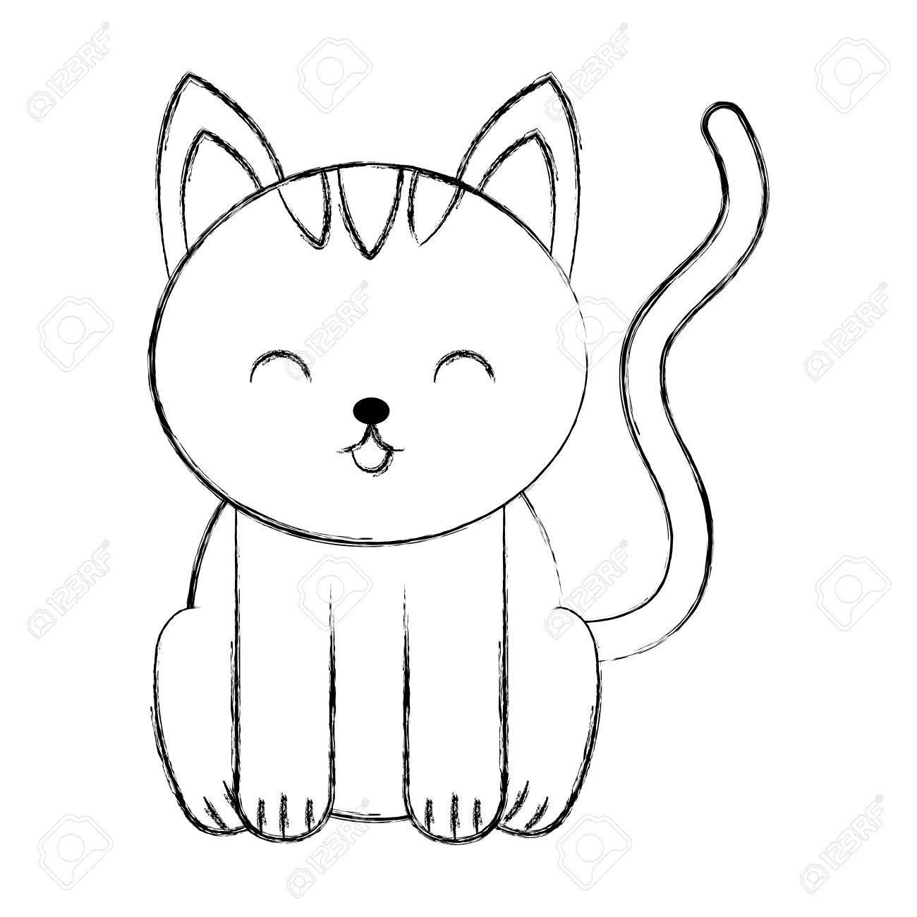Cute Sketch Draw Cat Cartoon Graphic Design Royalty Free Cliparts