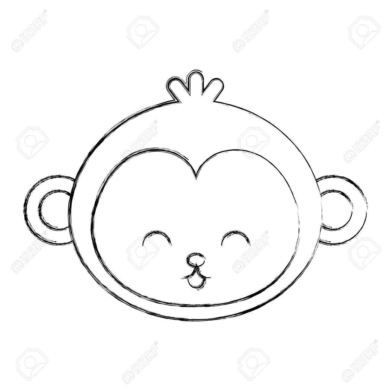 Cute Sketch Draw Monkey Face Cartoon Graphic Deisgn Royalty Free