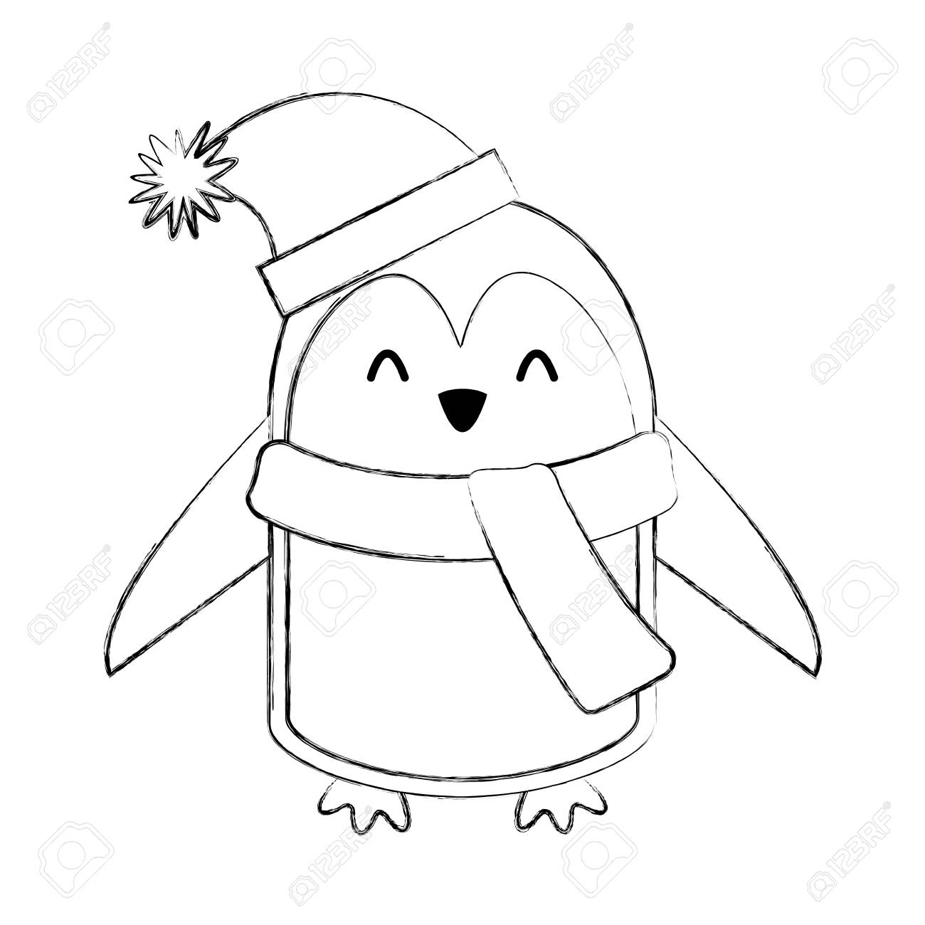 Icone De Ligne Mignonne Design De Dessin Anime De Pingouin De Noel Clip Art Libres De Droits Vecteurs Et Illustration Image 79192609