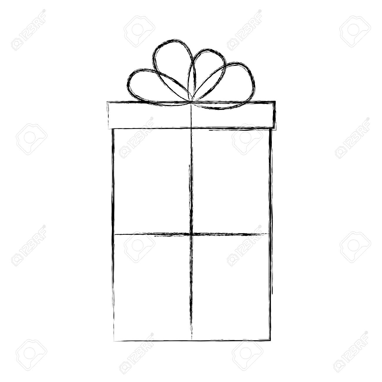 cute sketch draw christmas gift vector graphic design royalty free