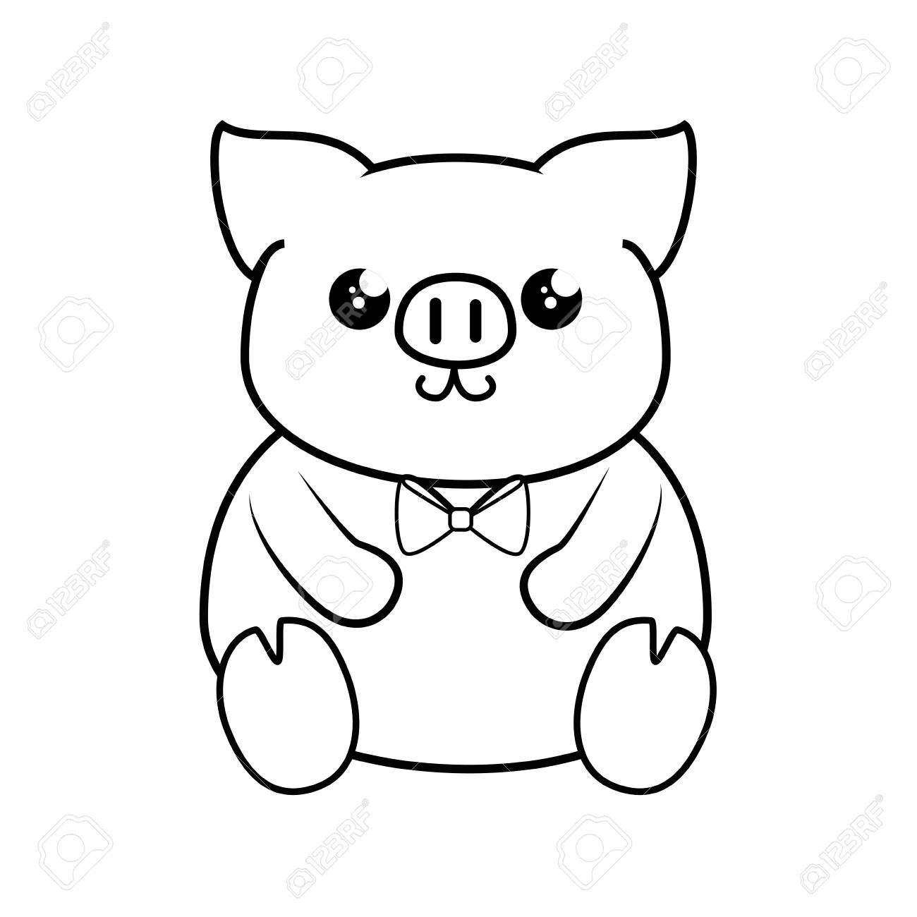 Pig Kawaii Cartoon Icon Vector Illustration Graphic Design Icon