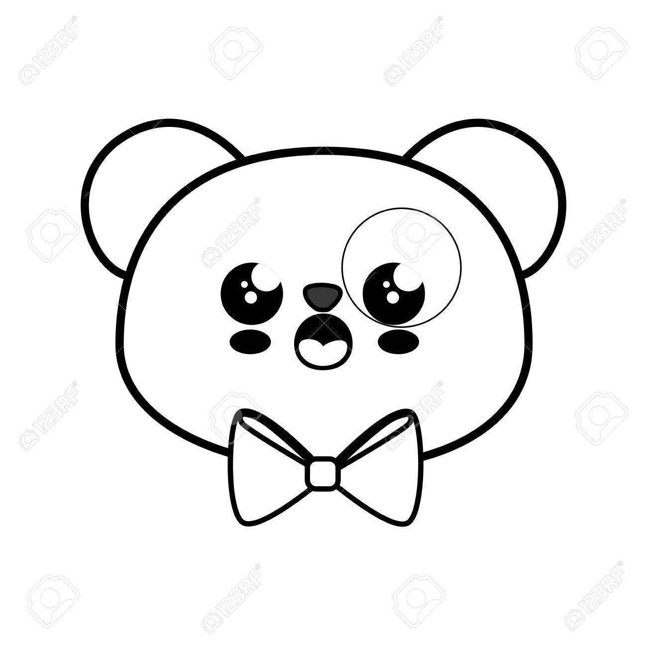Oso Panda Kawaii Icono De Dibujos Animados Ilustración Vectorial