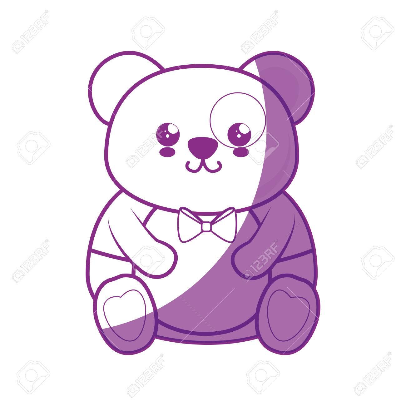 Ours Panda Kawaii Dessin Animé Icône Vecteur Illustration Graphisme