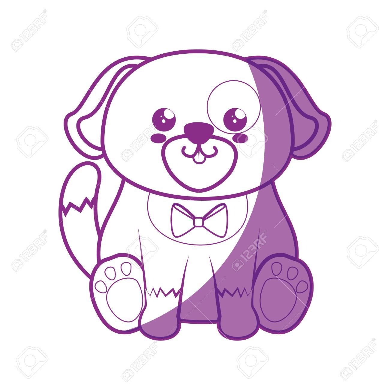 Perro Kawaii Icono De Dibujos Animados Ilustración Vectorial Diseño