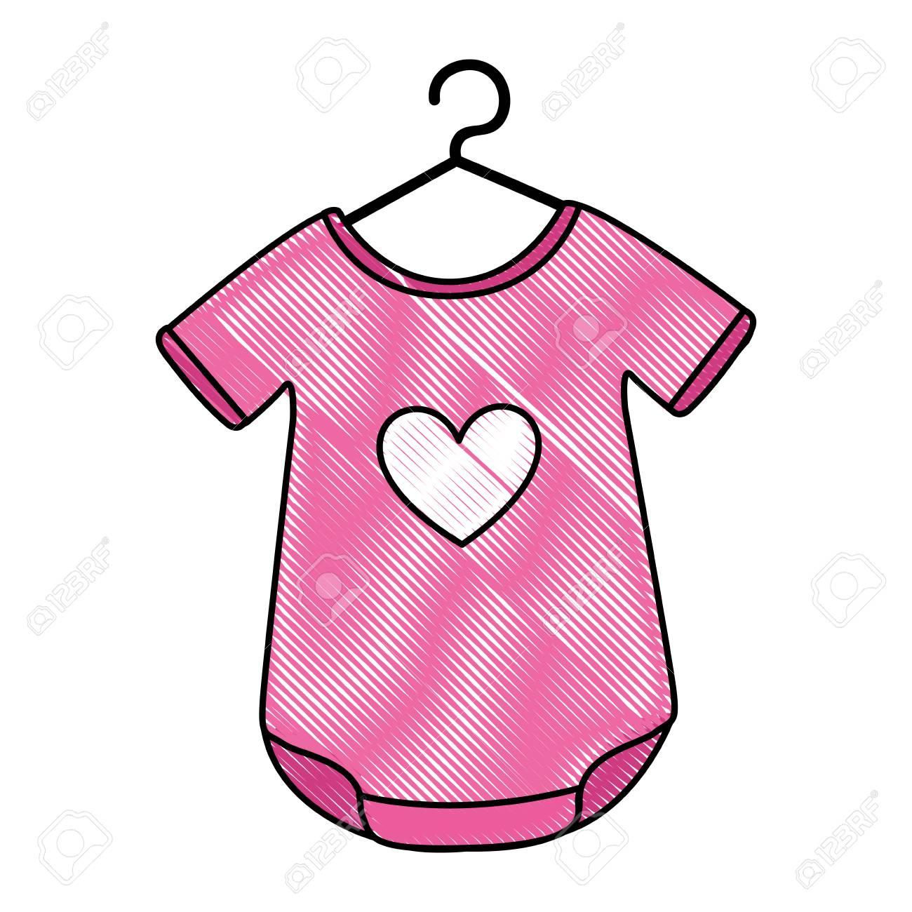 心臓ベクトル イラスト デザインの赤ちゃん服のイラスト素材ベクタ