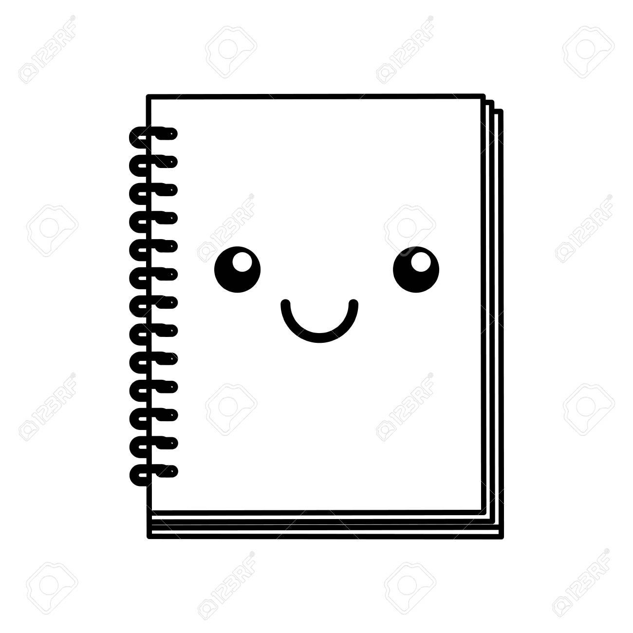 Linea Linda Icono Kawaii Libro De Nota Vector De Dibujos Animados