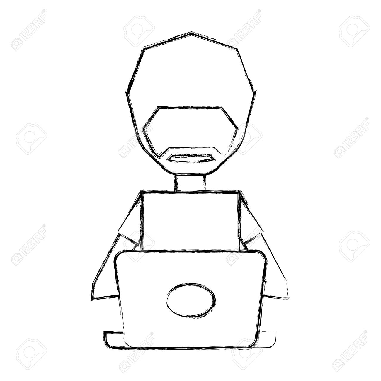 sketch draw man pc faceless cartoon vector graphic design royalty rh 123rf com