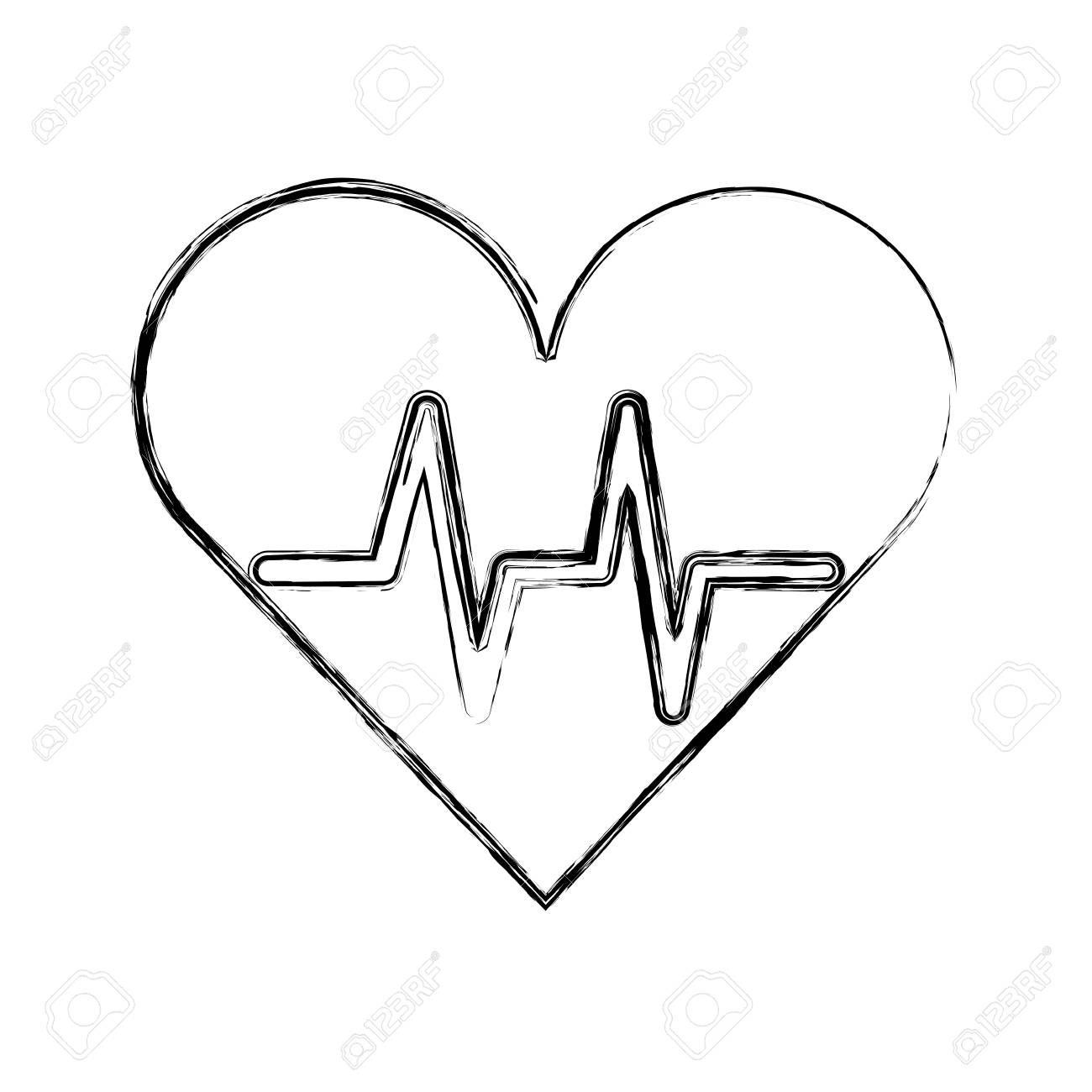 Sketch Draw Heart Beat Pulse Cartooon Vector Graphic Design Royalty Free Cliparts Vectors And Stock Illustration Image 79412913
