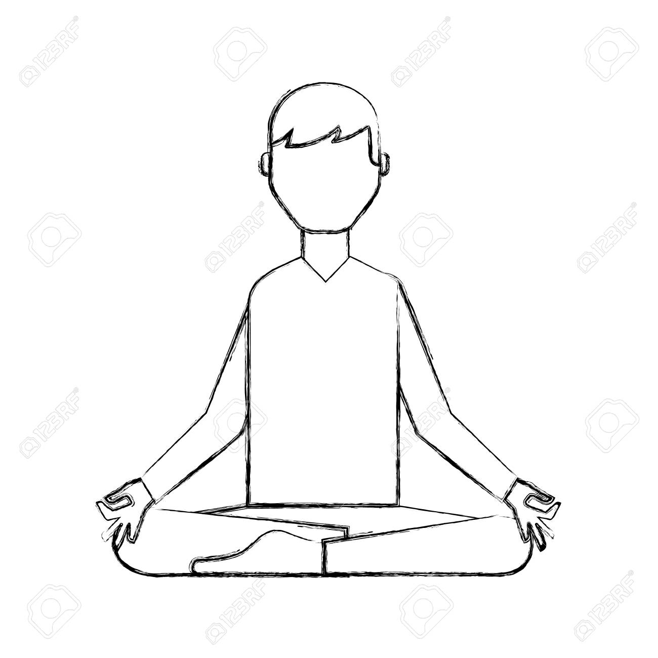 Sketch Draw Lotus Pose Man Cartoon Vector Grahic Design Royalty Free Cliparts Vectors And Stock Illustration Image 79412991