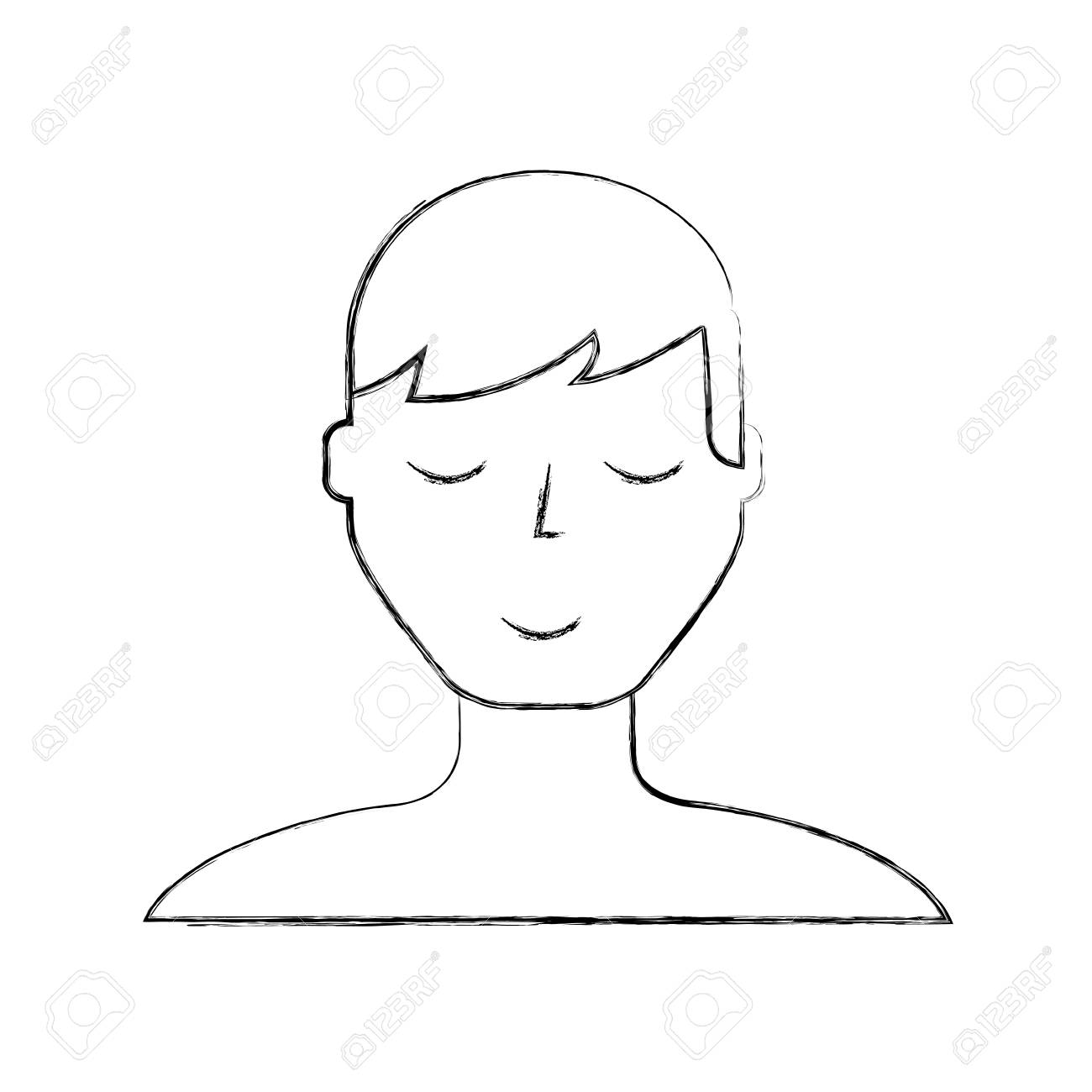 sketch draw man face cartoon vector graphic design royalty free rh 123rf com