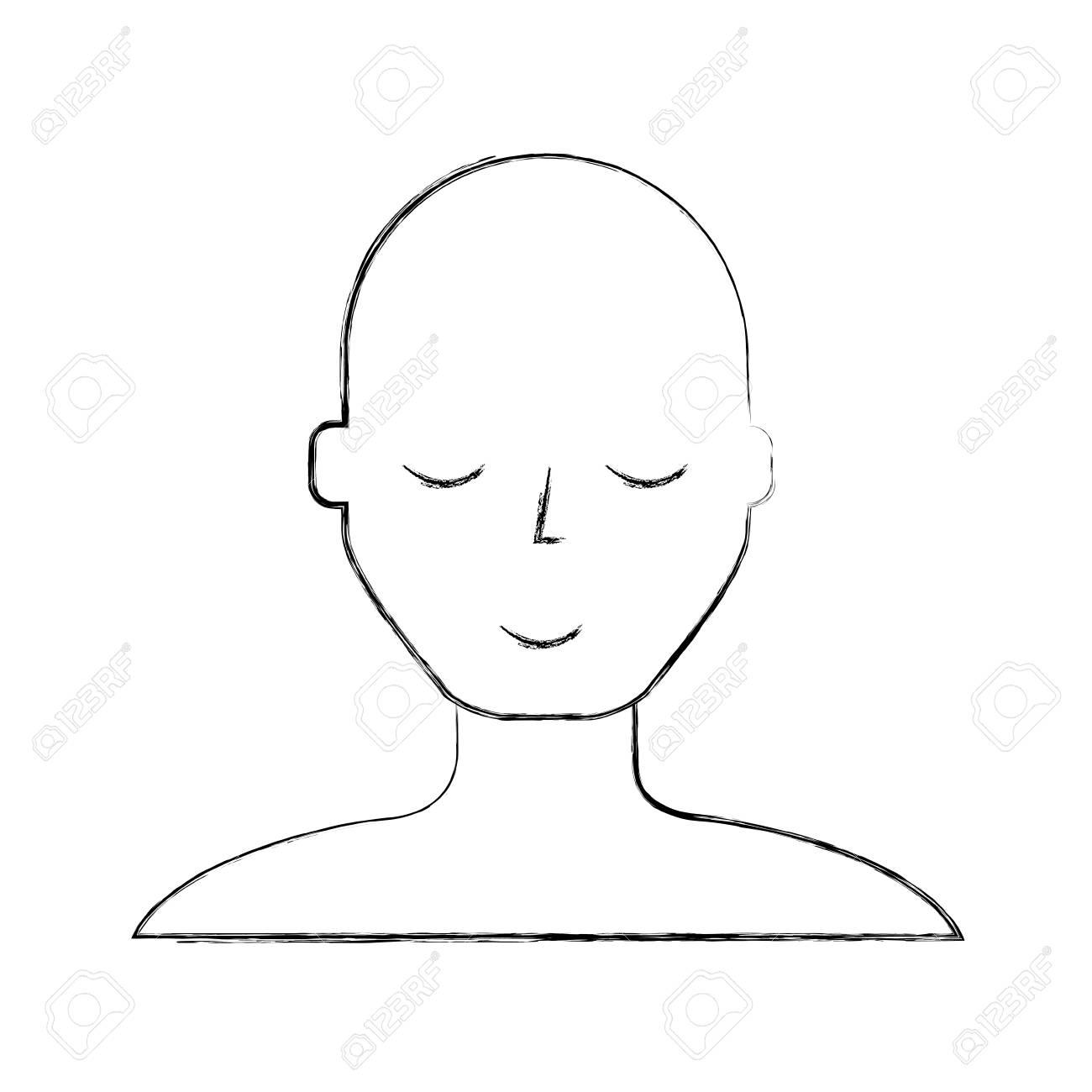 Croquis Dessiner Un Homme Chauve Visage Dessin Animé Vector Graphisme