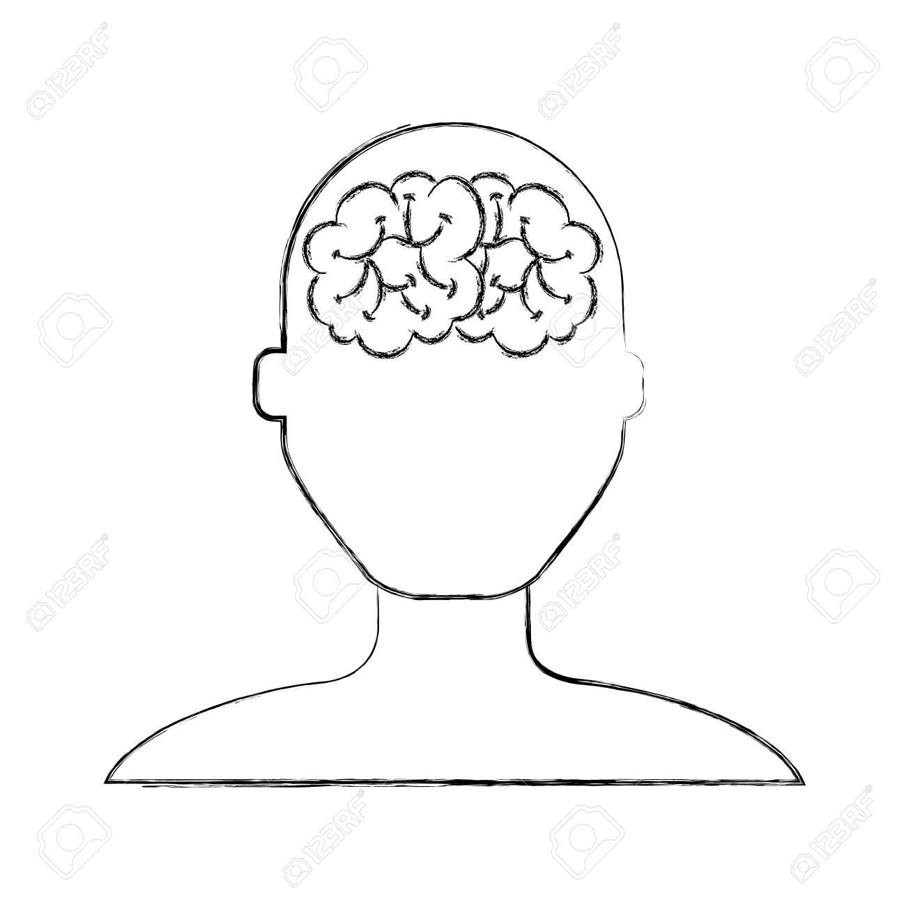 Croquis Dessiner Cerveau Sans Visage Homme Dessin Animé Vector Design Graphique