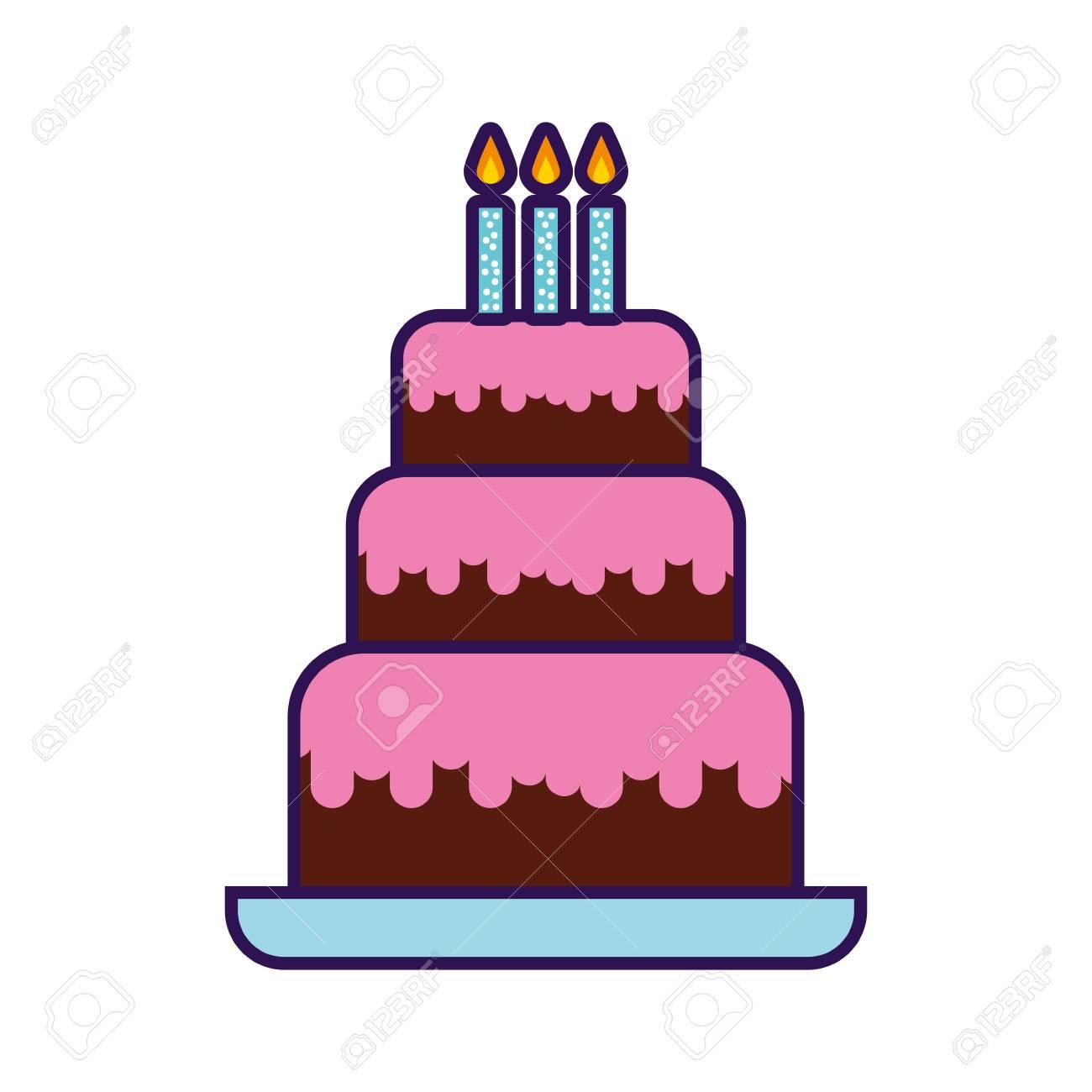 かわいい誕生日ケーキ漫画ベクトル グラフィック デザインのイラスト素材