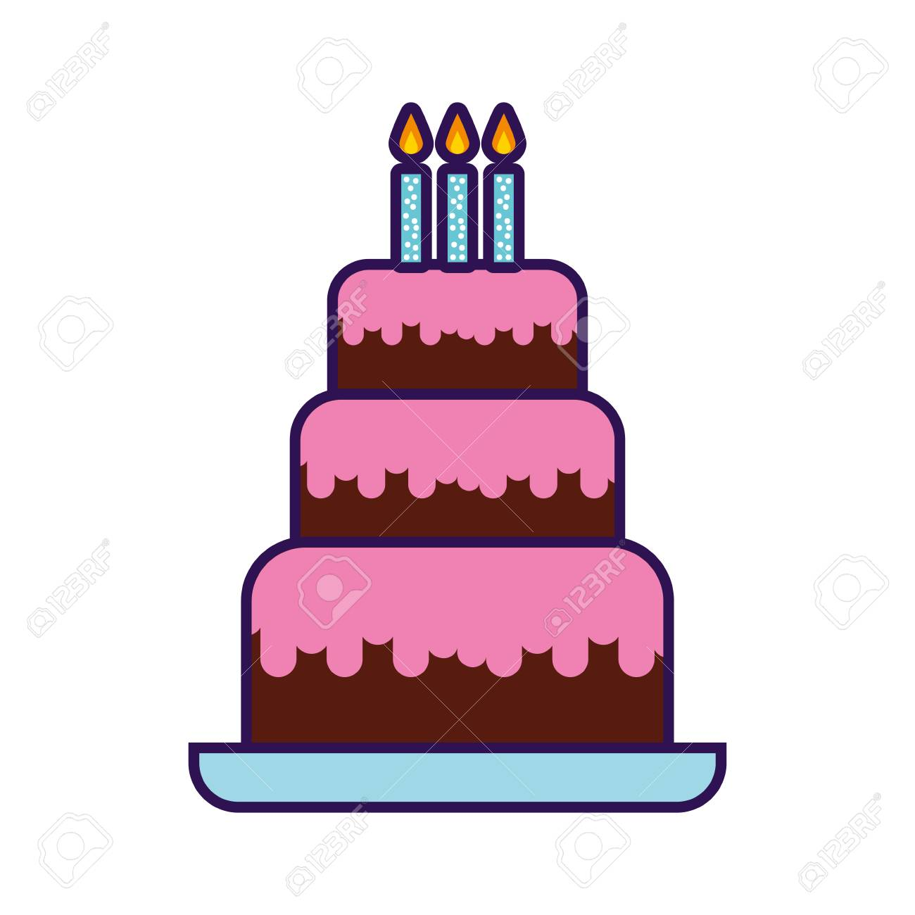 Cute Birthday Cake Cartoon Vector Graphic Design Stock