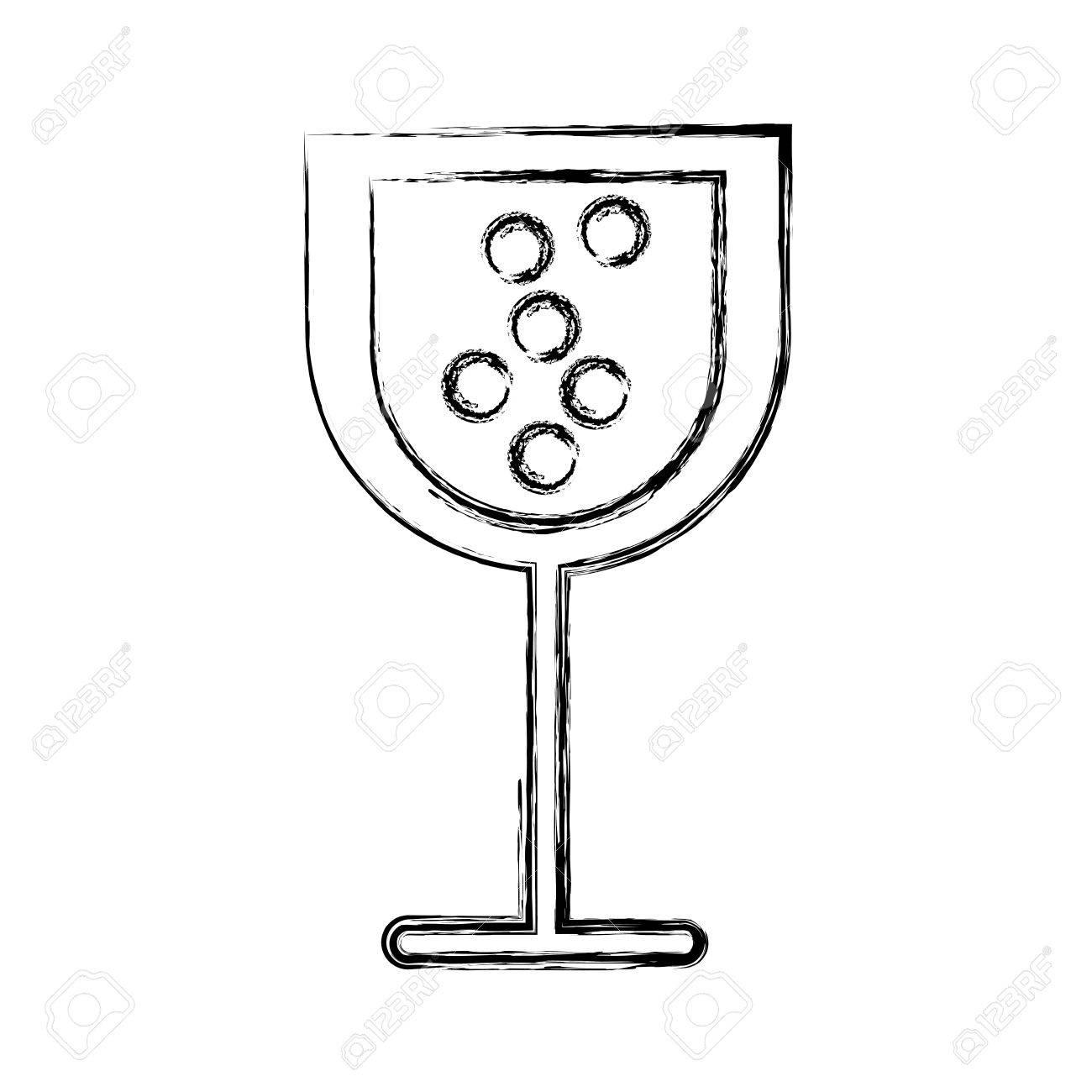 Sketch Draw Cartoon Glass Wine Vector Graphic Design Royalty Free