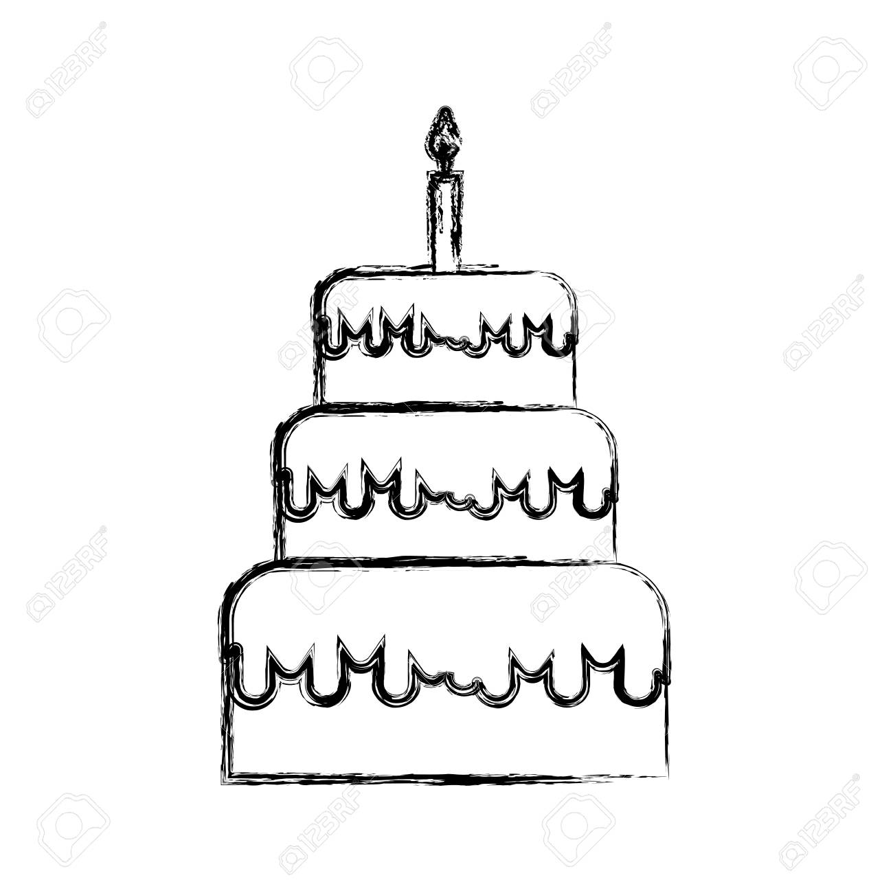Brilliant Sketch Draw Birthday Cake Cartoon Vector Graphic Design Royalty Funny Birthday Cards Online Alyptdamsfinfo