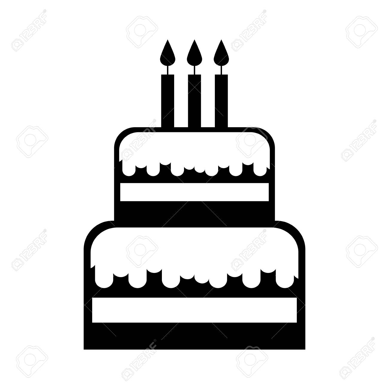 Black Icon Birthday Cake Cartoon Vector Graphic Design Royalty Free