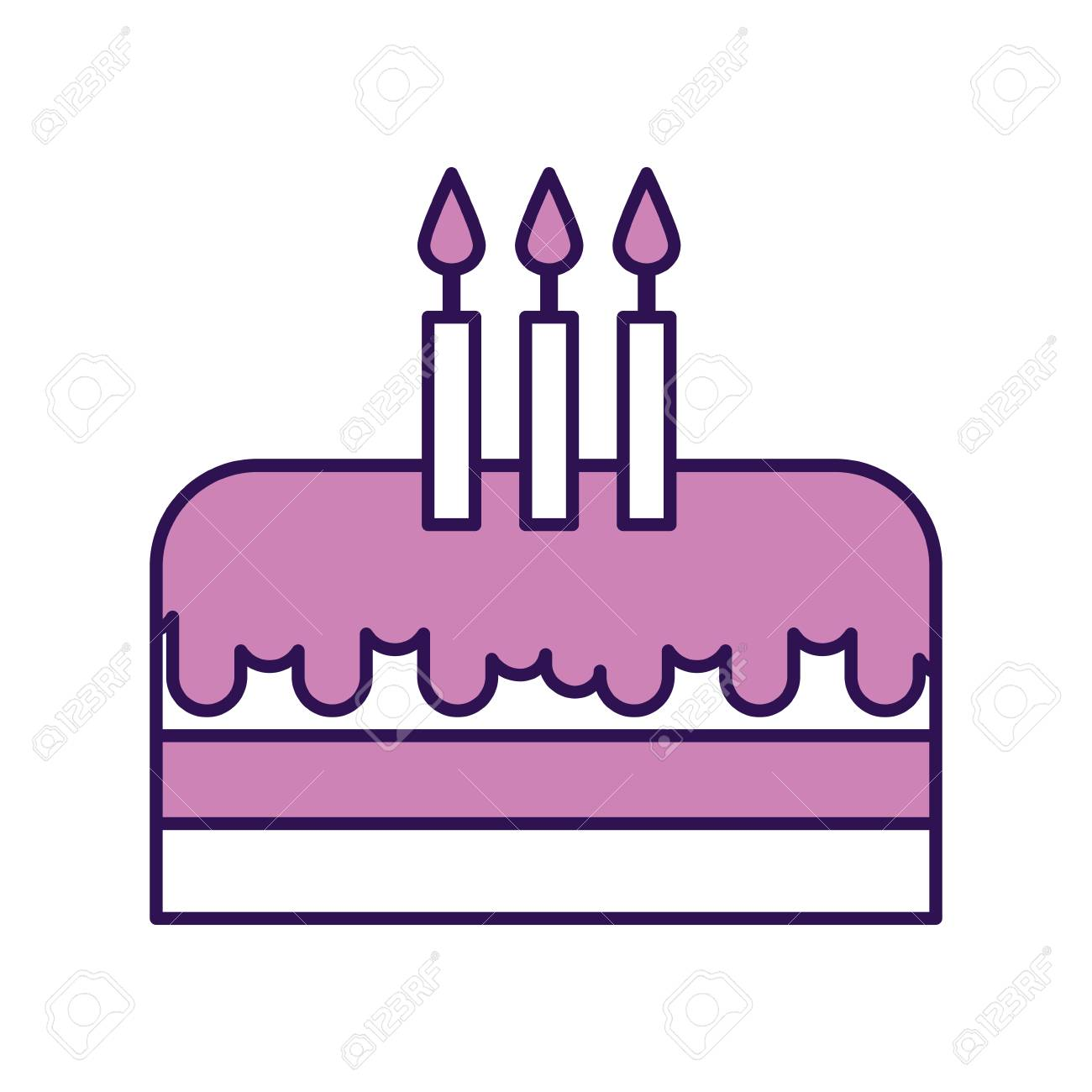 Cool Cute Purple Birthday Cake Cartoon Vector Graphic Design Royalty Funny Birthday Cards Online Alyptdamsfinfo