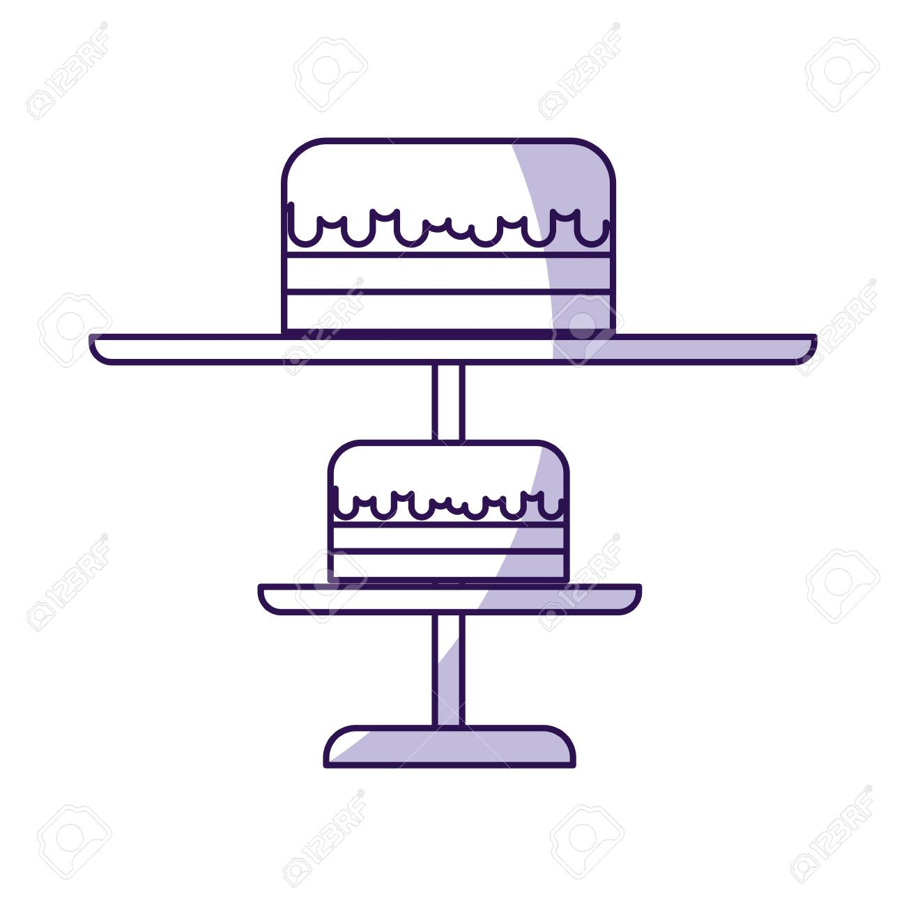 Shadow Purple Stand Birthday Cake Cartoon Vector Graphic Design