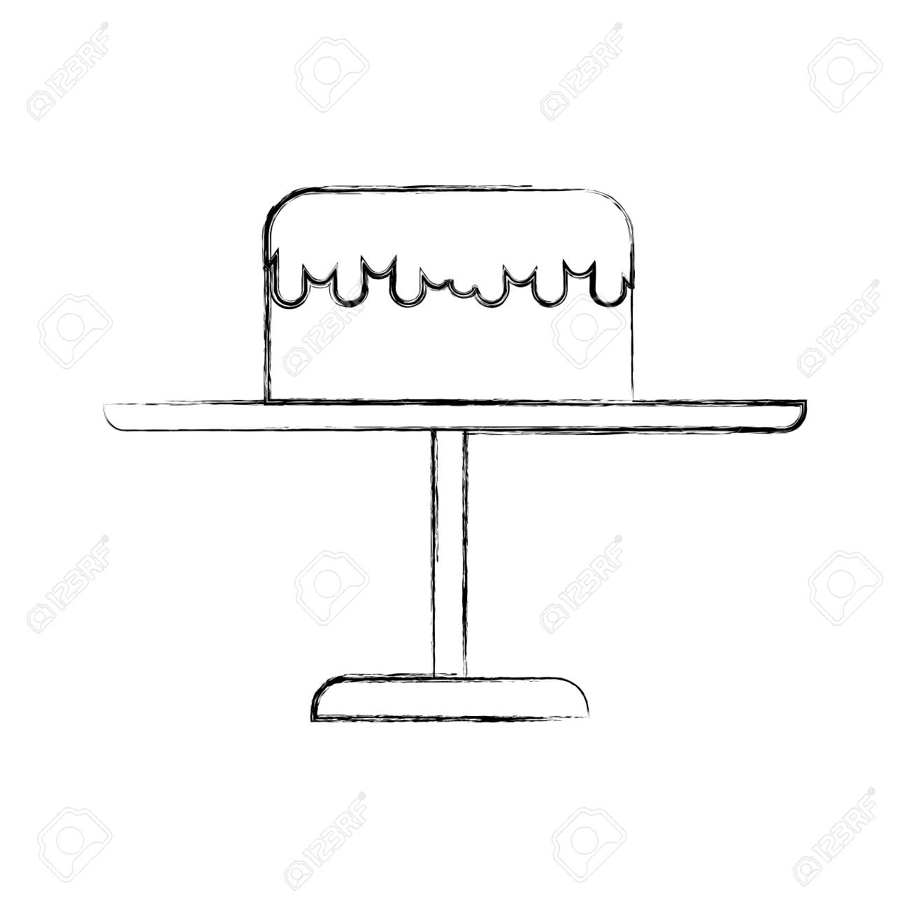 Cute Sketch Draw Stand Birthday Cake Cartoon Vector Graphic Design Royalty Free Cliparts Vectors And Stock Illustration Image 79413456