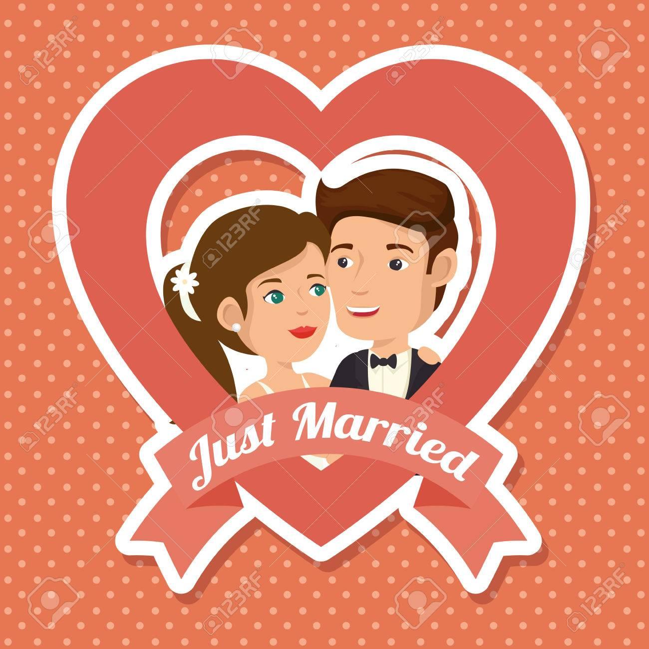 Gerade Verheiratet Mit Herzförmigen Rahmen Sitcker über Pfirsich ...