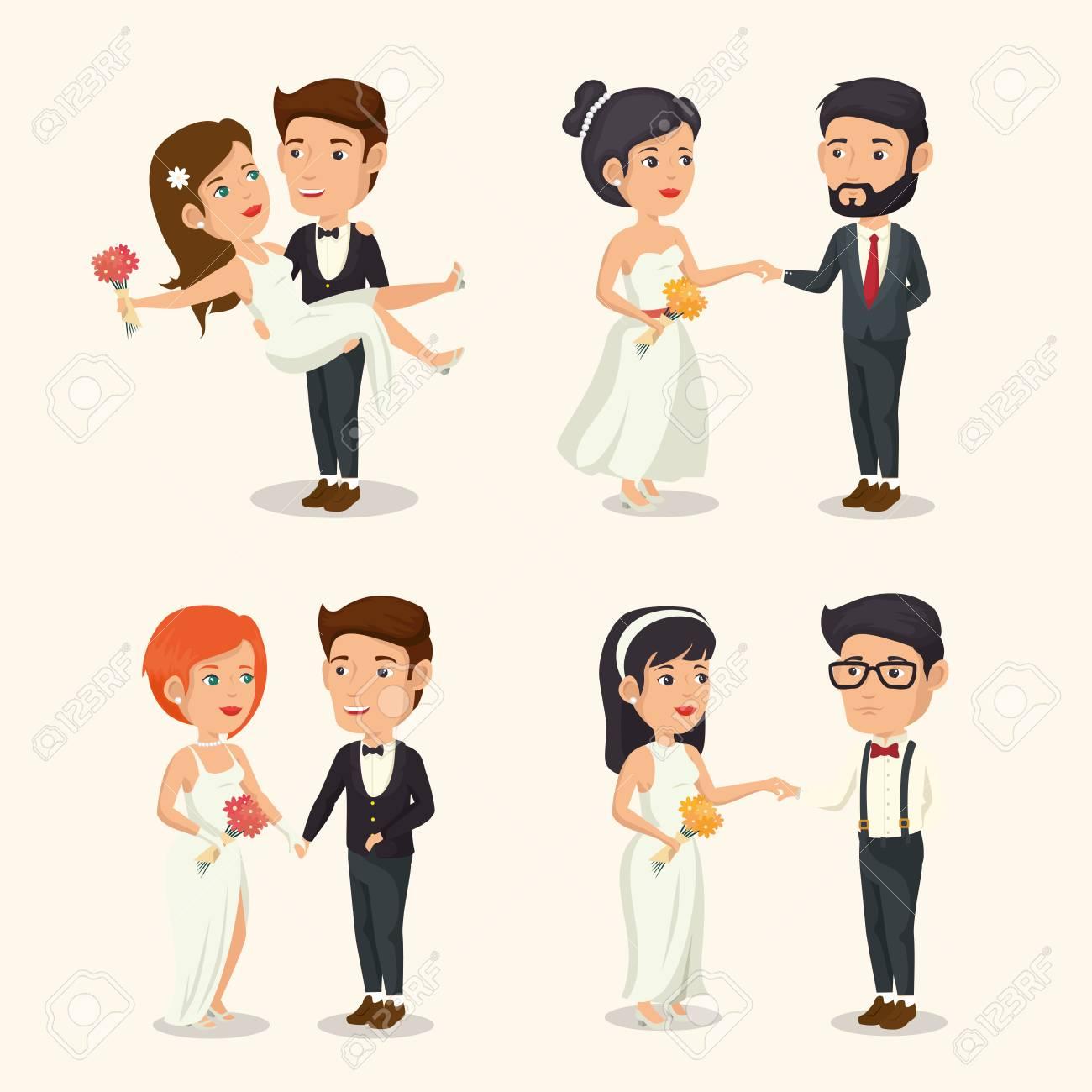 conjunto de diseños novias y novios sobre fondo blanco ilustración