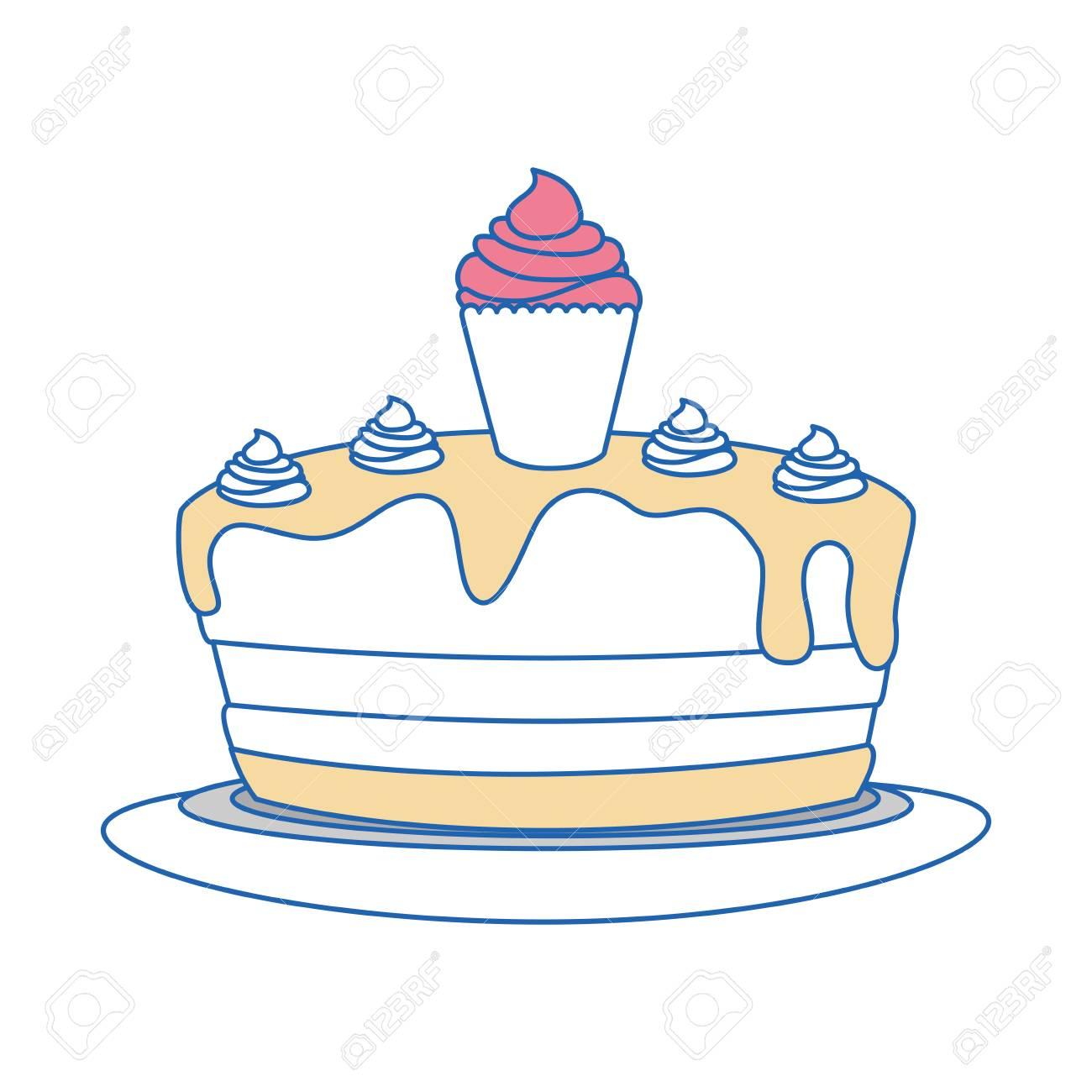 Birthday Cake Icon Over White Background Vector Illustration