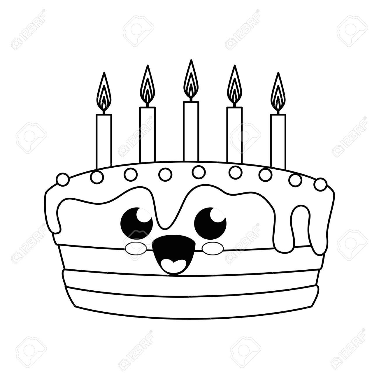 かわいい誕生日ケーキ アイコン白背景の上ベクトル図のイラスト素材
