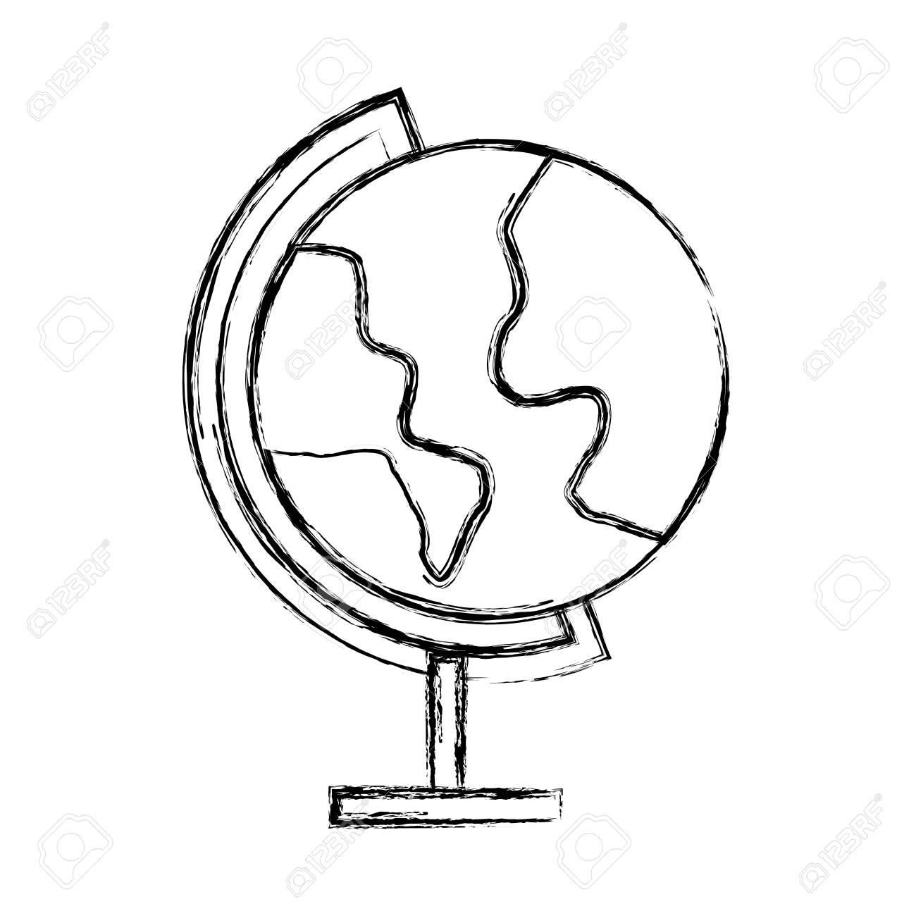 Esquisse Dessiner Monde Carte Dessin Animé Vectoriel