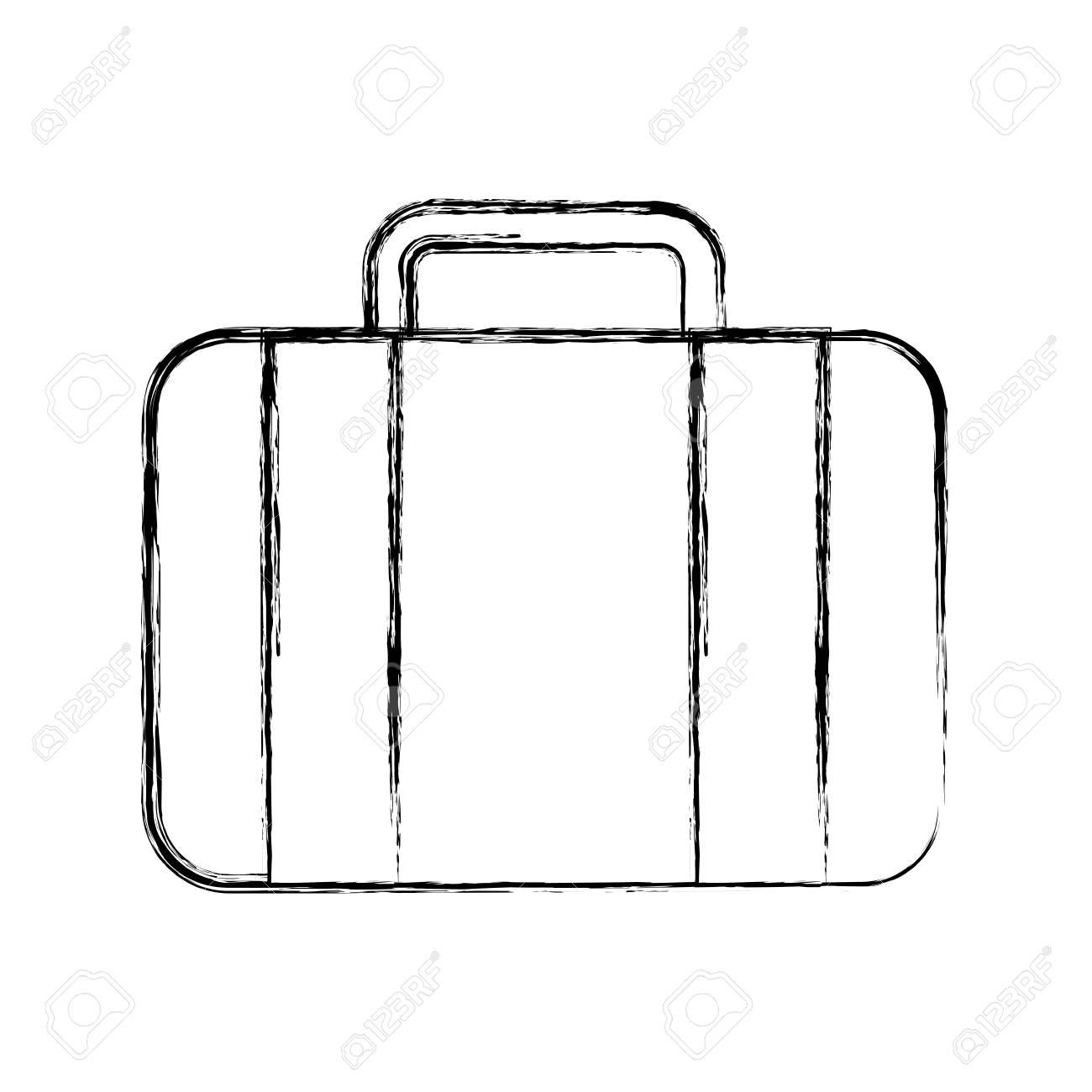 sketch draw suitcase cartoon vector graphic design