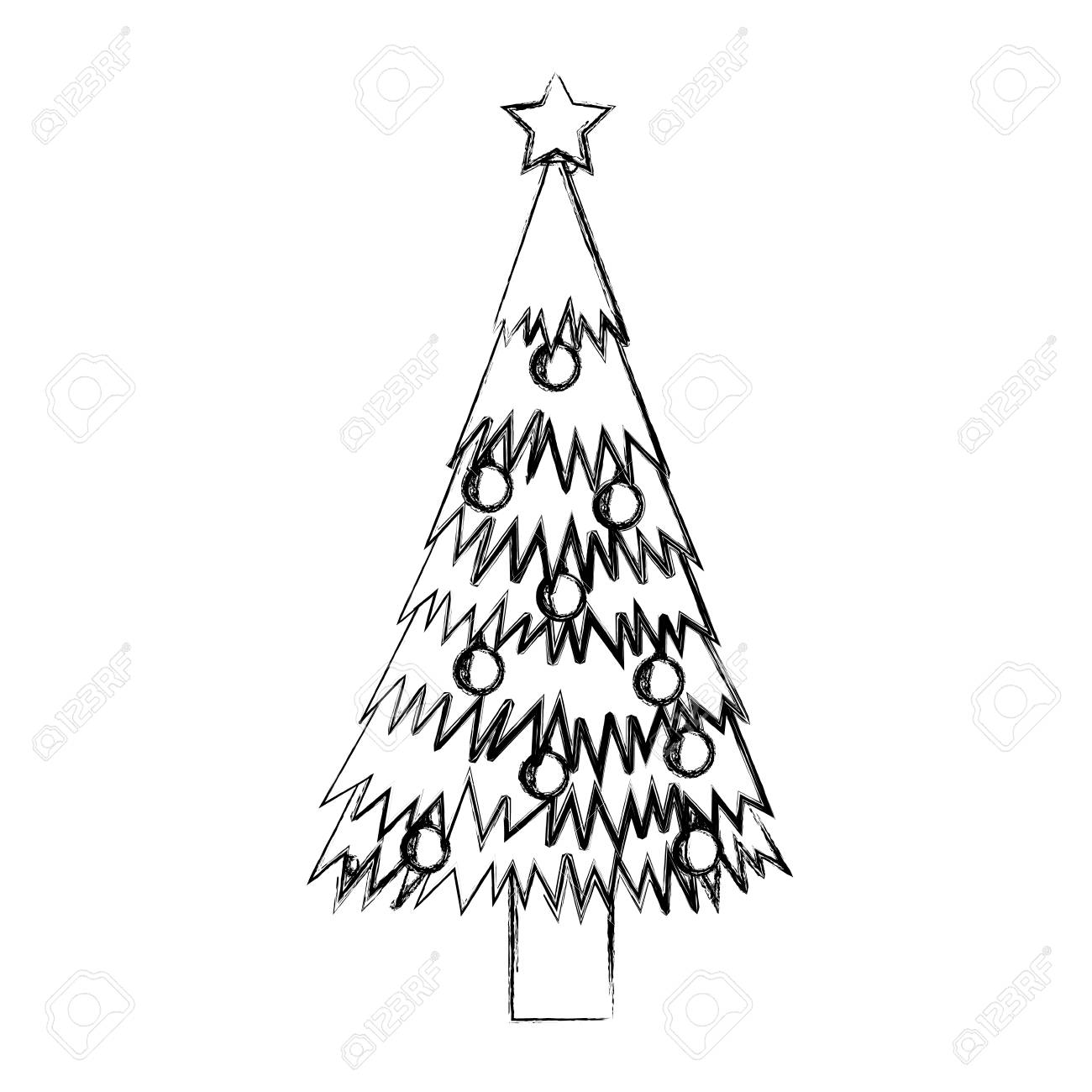 Drawing Christmas Tree Sketch.Sketch Draw Christmas Tree Cartoon Vector Graphic Design