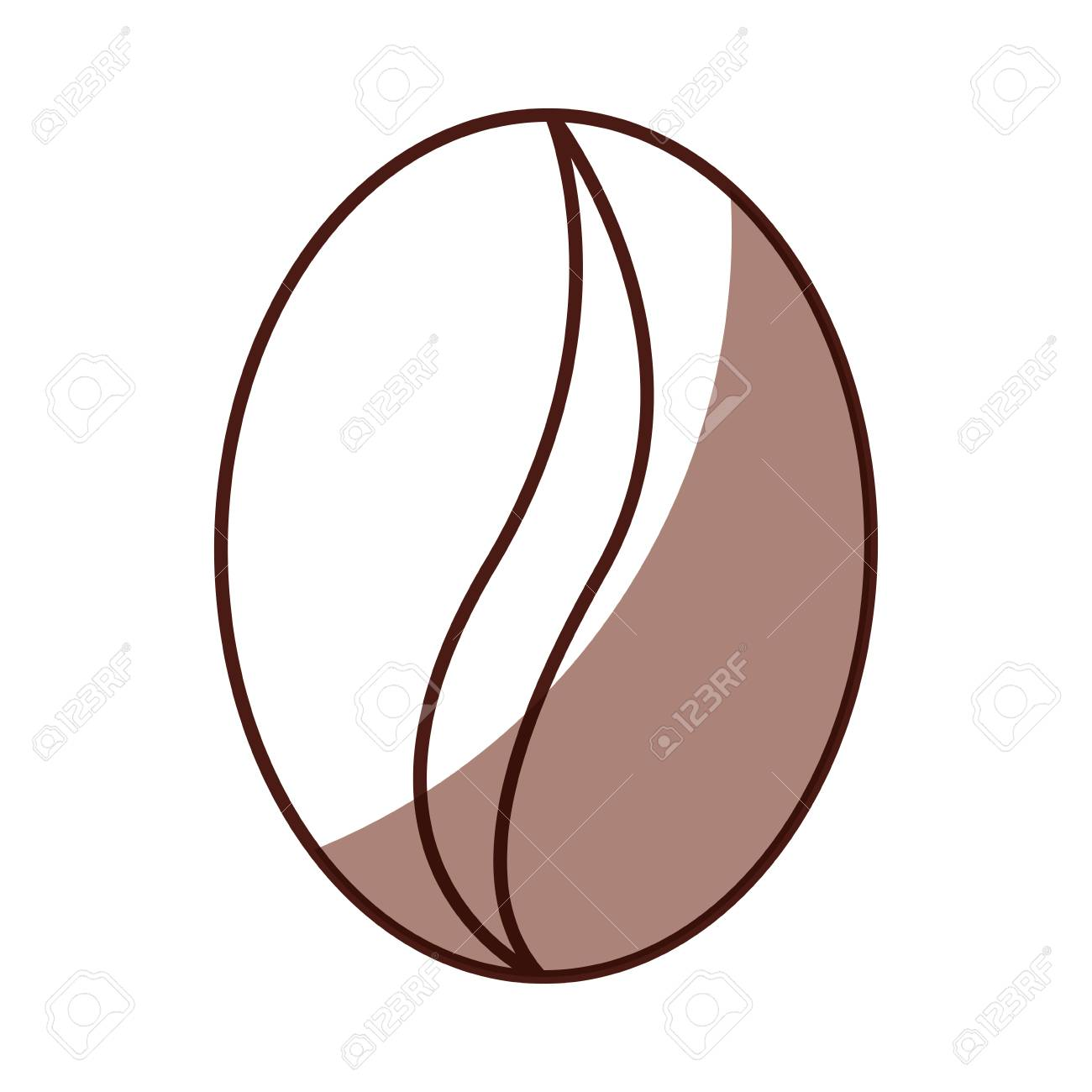 Shadow Coffee Bean Cartoon Vector Graphic Design Royalty Free