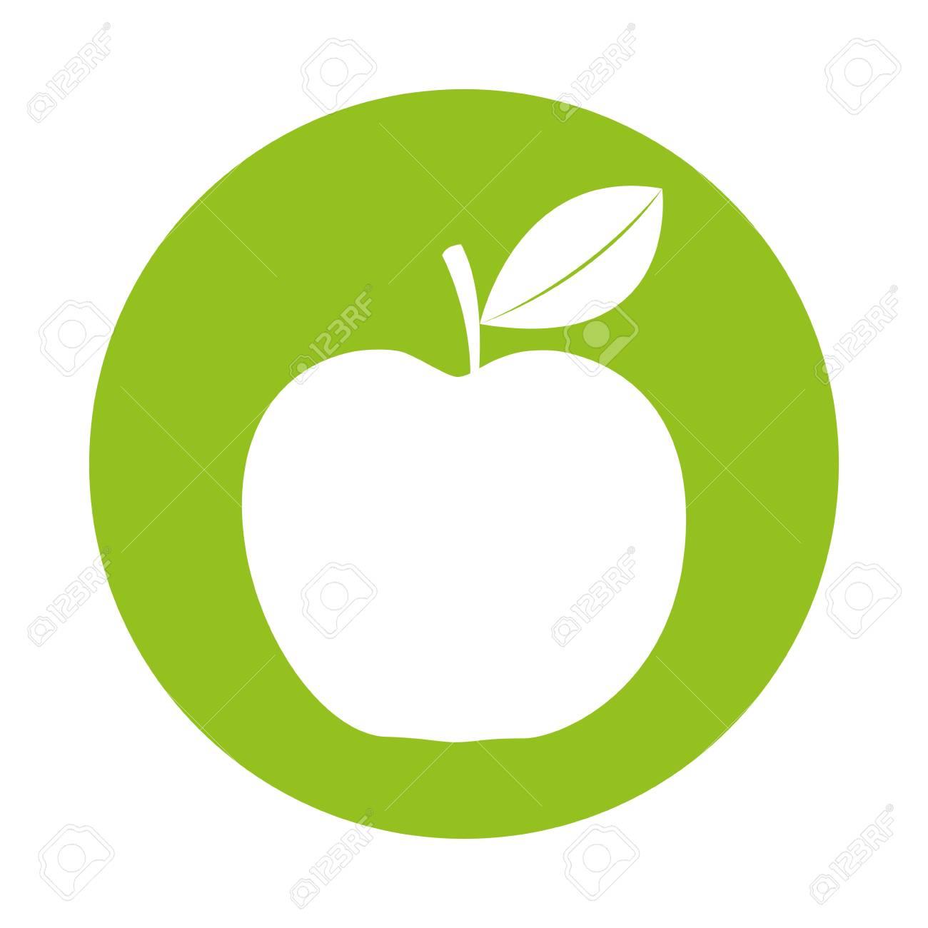 Dessin Pomme rond icône dessin de pomme verte dessin animé vectoriel clip art