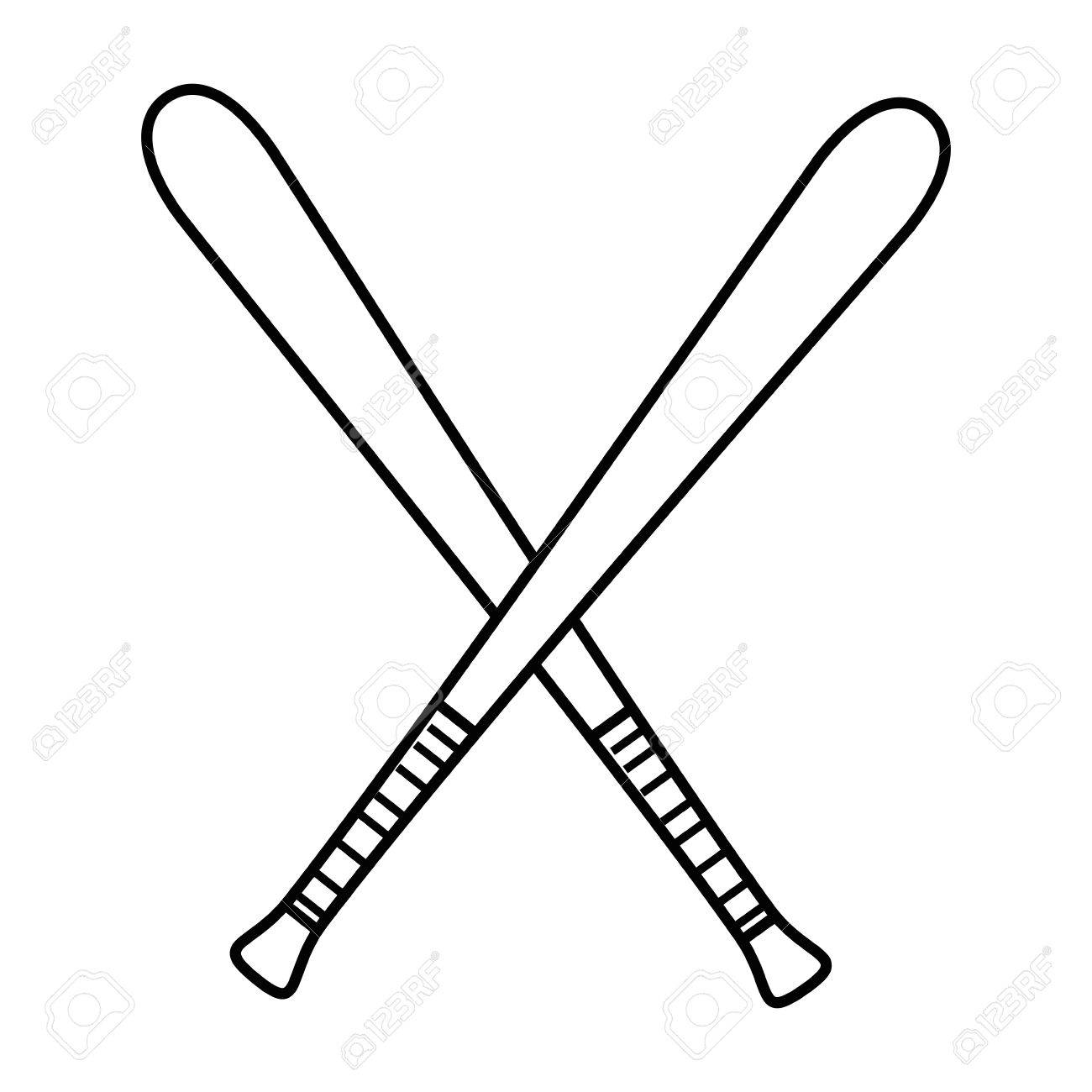 baseball bats crossed icon over white background vector illustration rh 123rf com