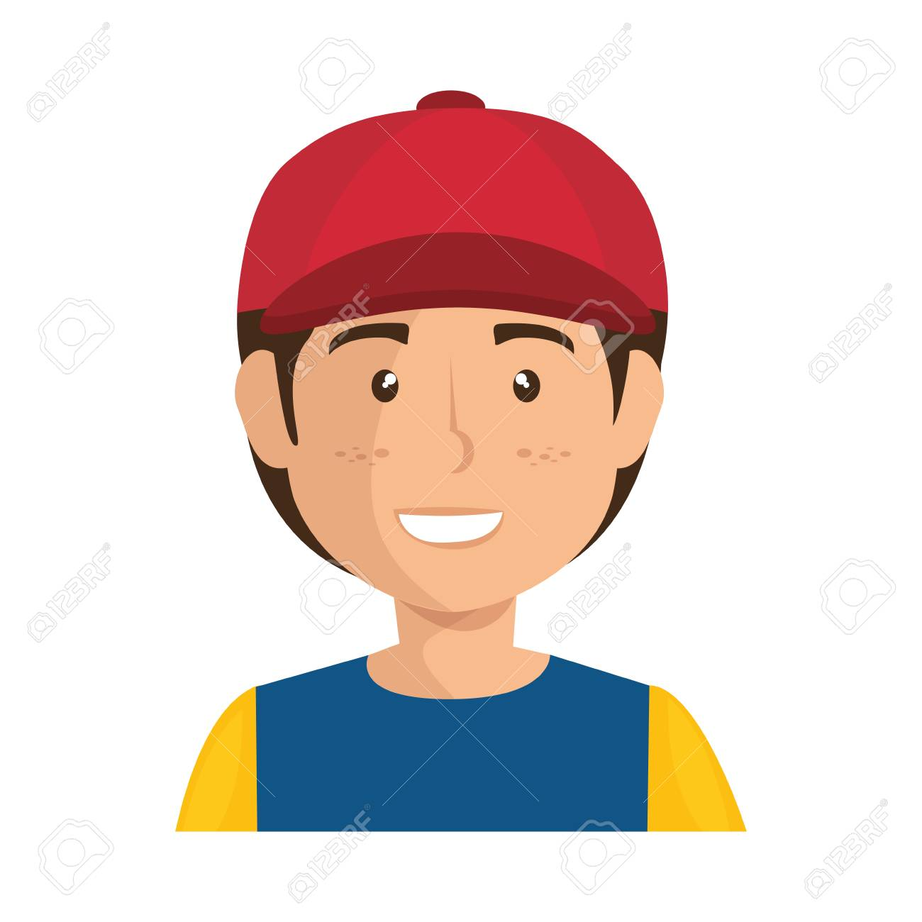 varios estilos Precio al por mayor 2019 más popular Niño de dibujos animados con un icono de gorra sobre fondo blanco  ilustración vectorial de diseño colorido