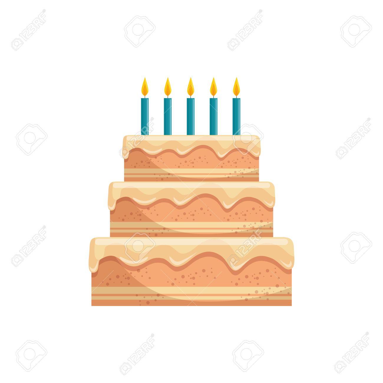美味しいバースデー ケーキのアイコン ベクトル イラスト グラフィック