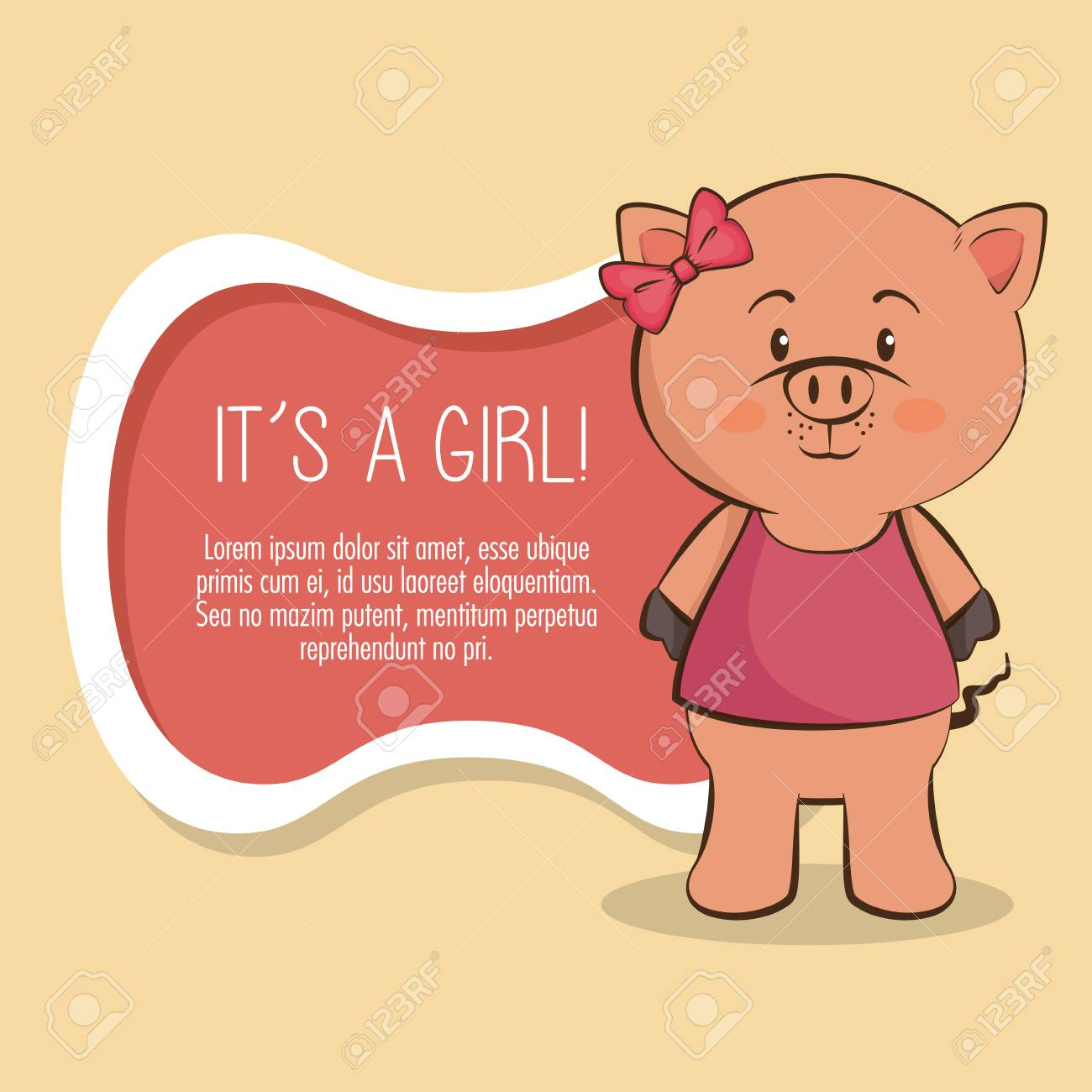 Baby Shower Girl Tarjeta De Invitación Ilustración Vectorial Diseño Gráfico