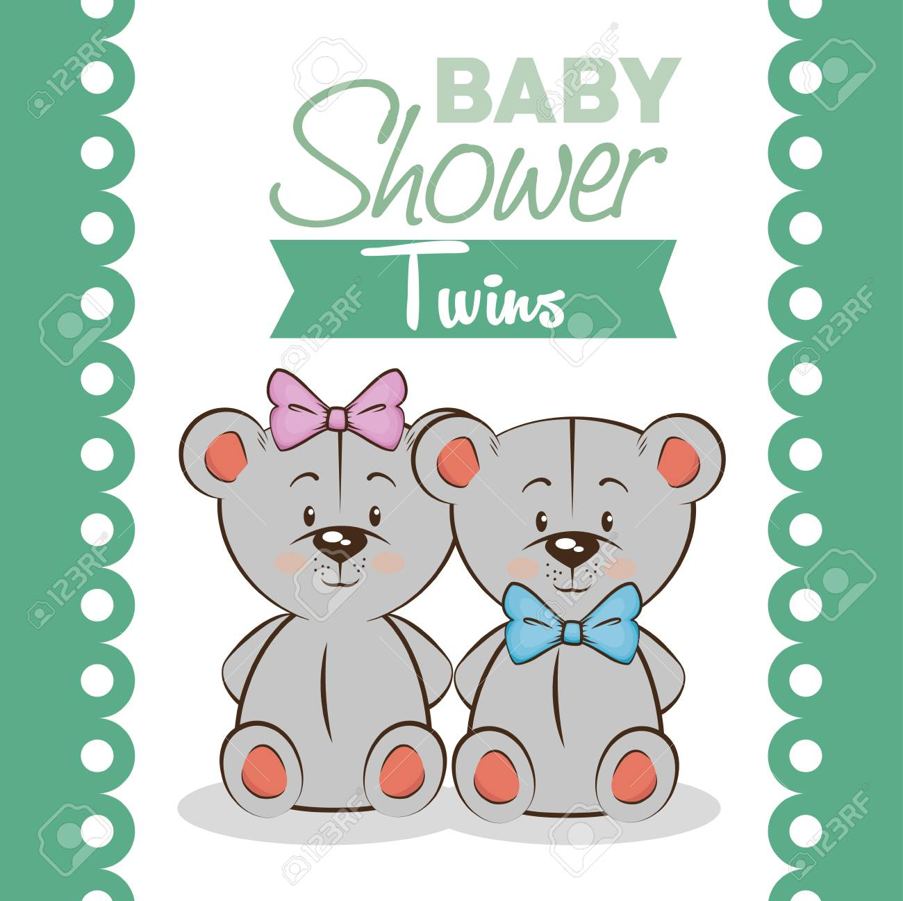 Baby shower twins invitation card vector illustration graphic baby shower twins invitation card vector illustration graphic design stock vector 80980985 filmwisefo
