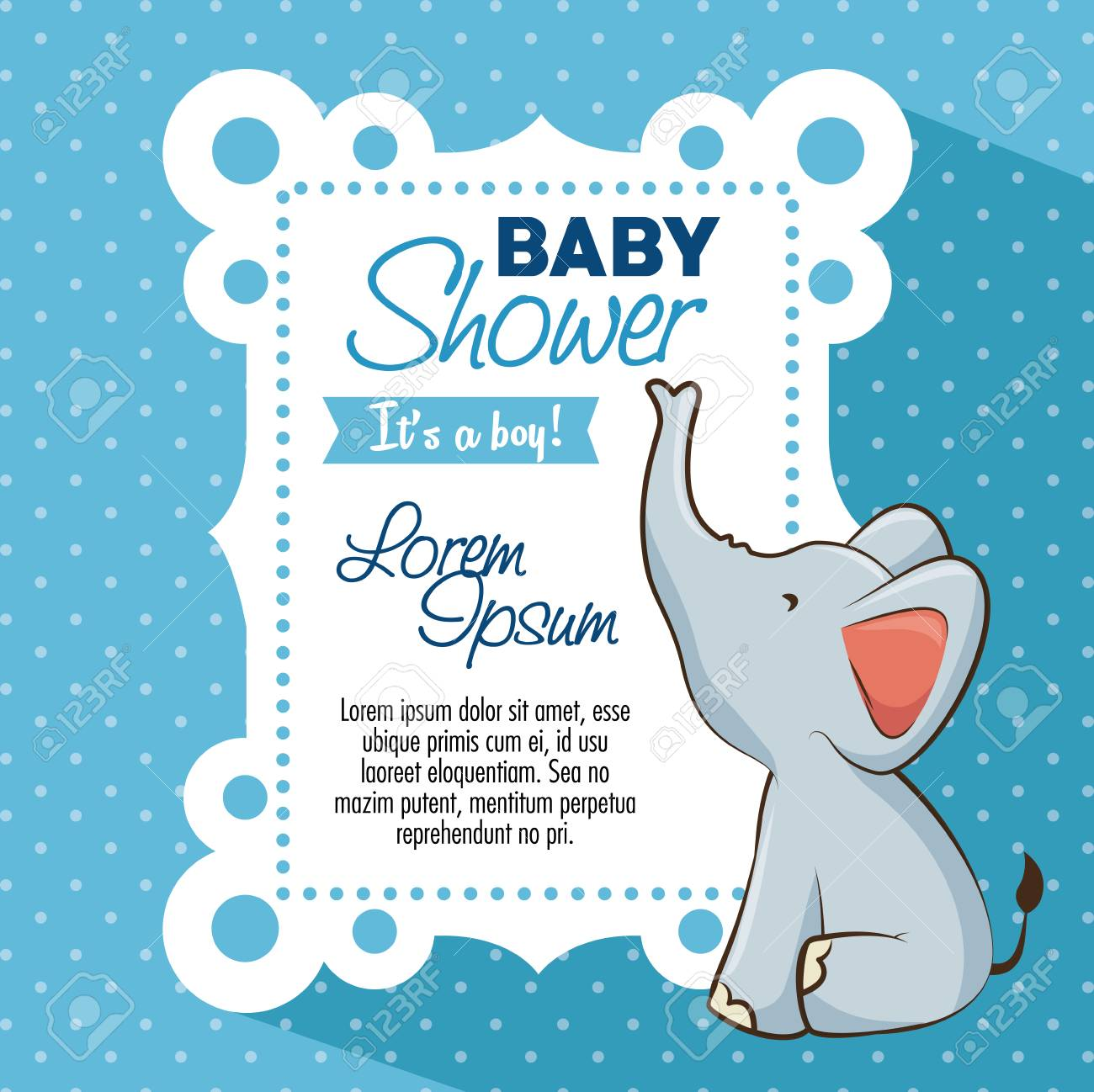 Baby Shower Boy Tarjeta De Invitación Ilustración Vectorial Diseño Gráfico