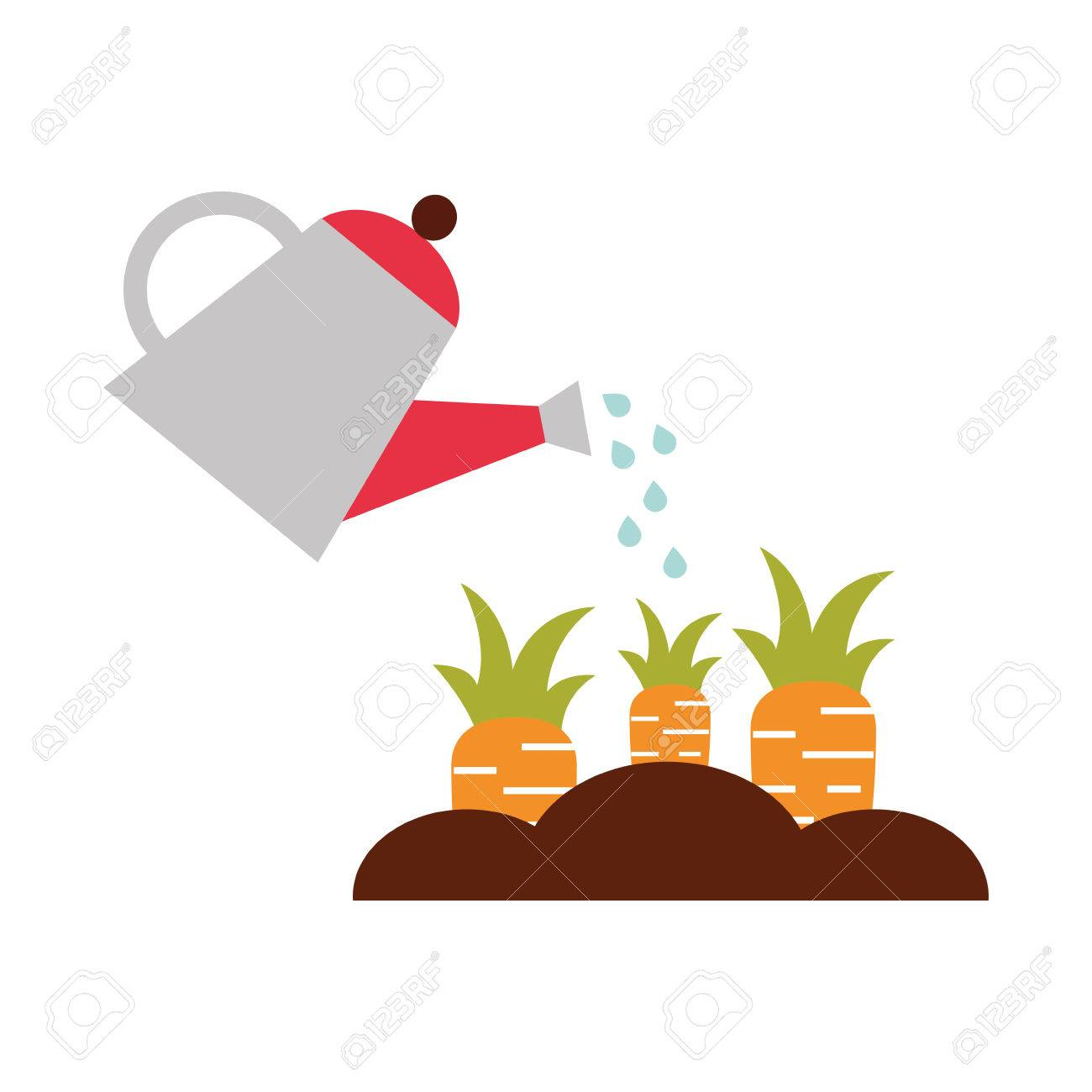 Farming Sprinkler With Carrot Cultivation Vector Illustration